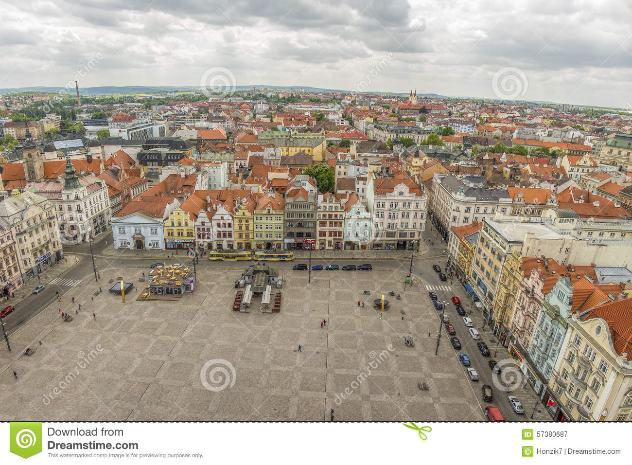 Pilsen the main or central city square urban view for Where is prague near