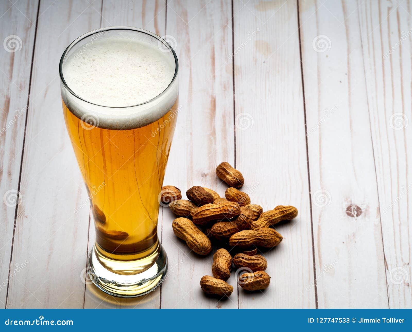 Pilsner beer and peanuts
