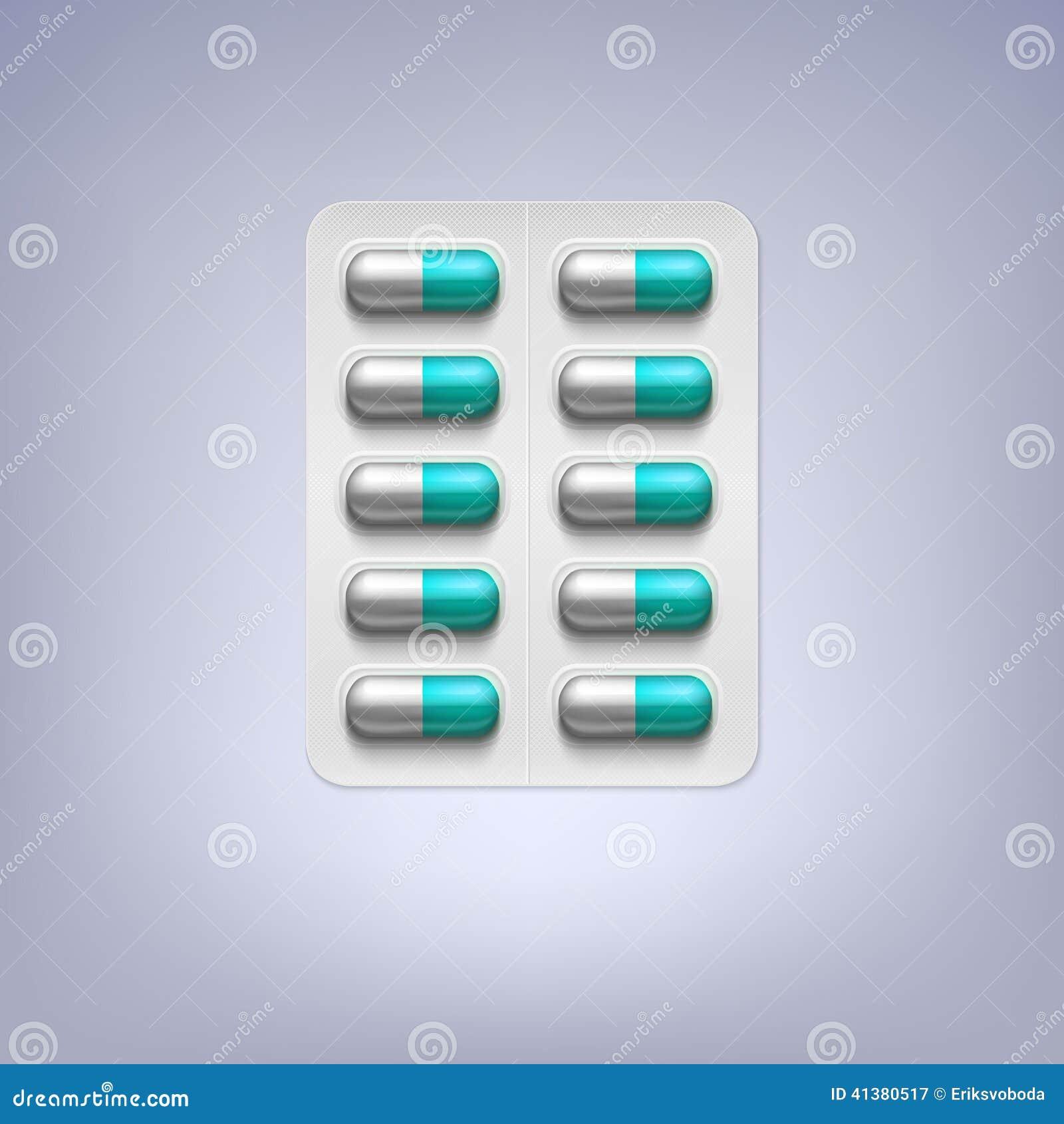 Pilules dans un habillage transparent