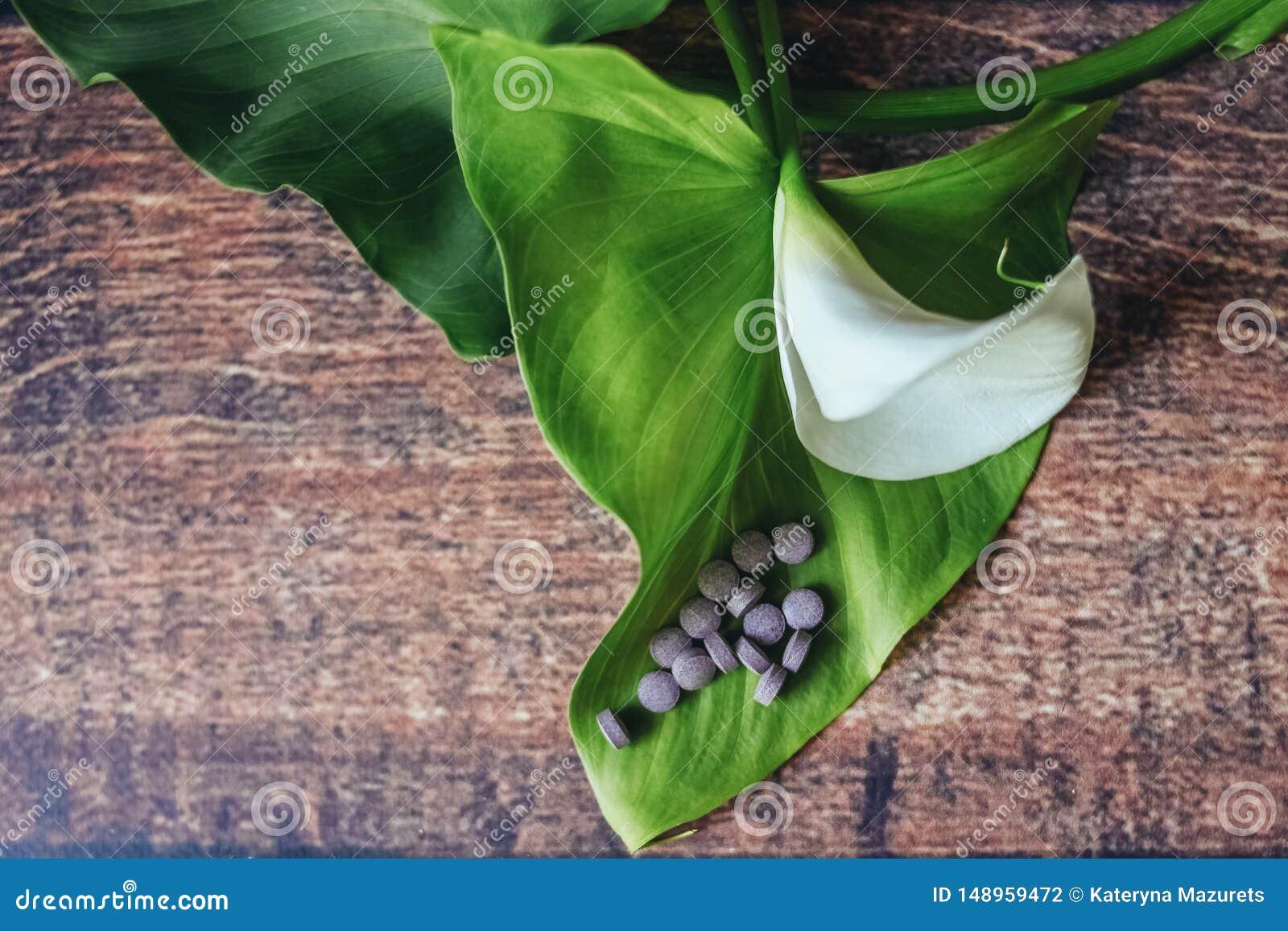 Pilules pourpres sur une belle feuille de fleur blanche