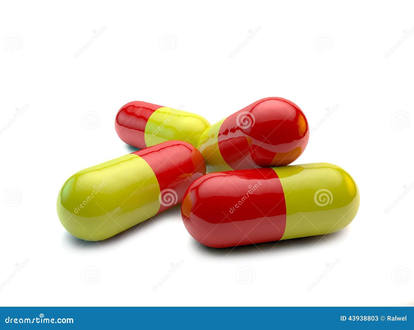Pilules rouges et jaunes, antibiotiques