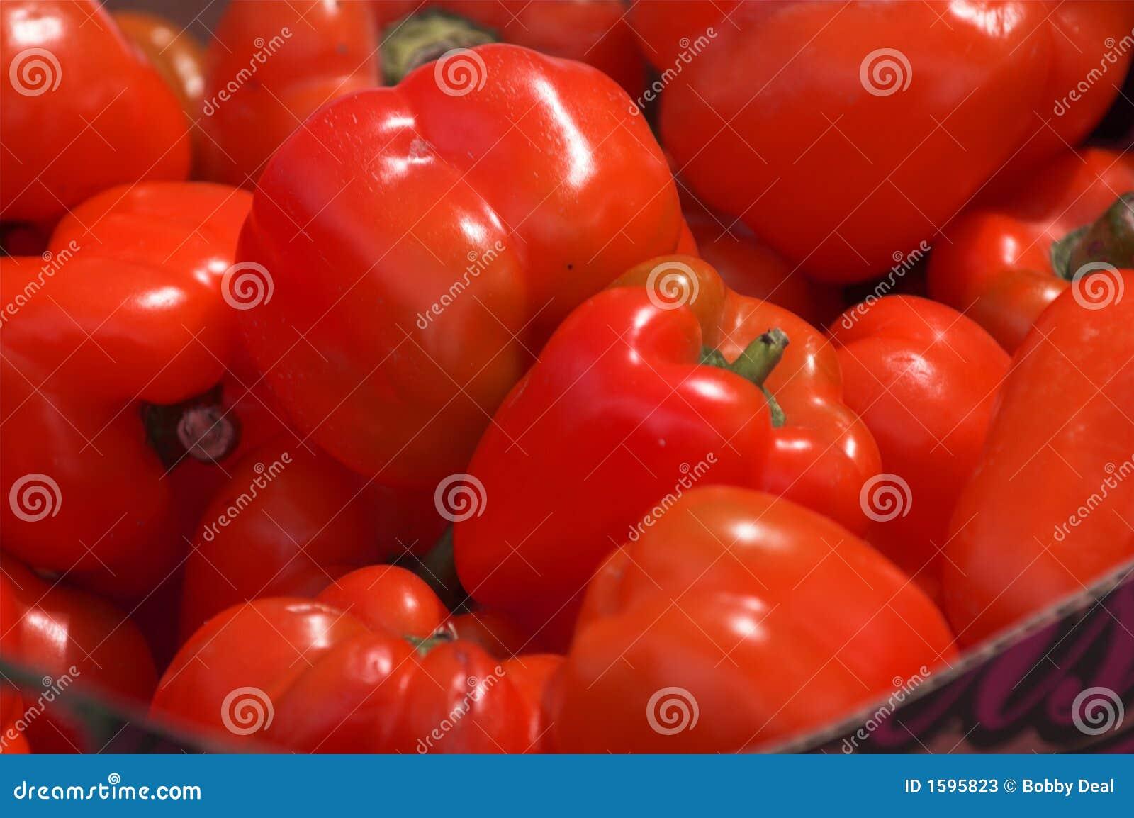 Pimentas de Bell vermelhas
