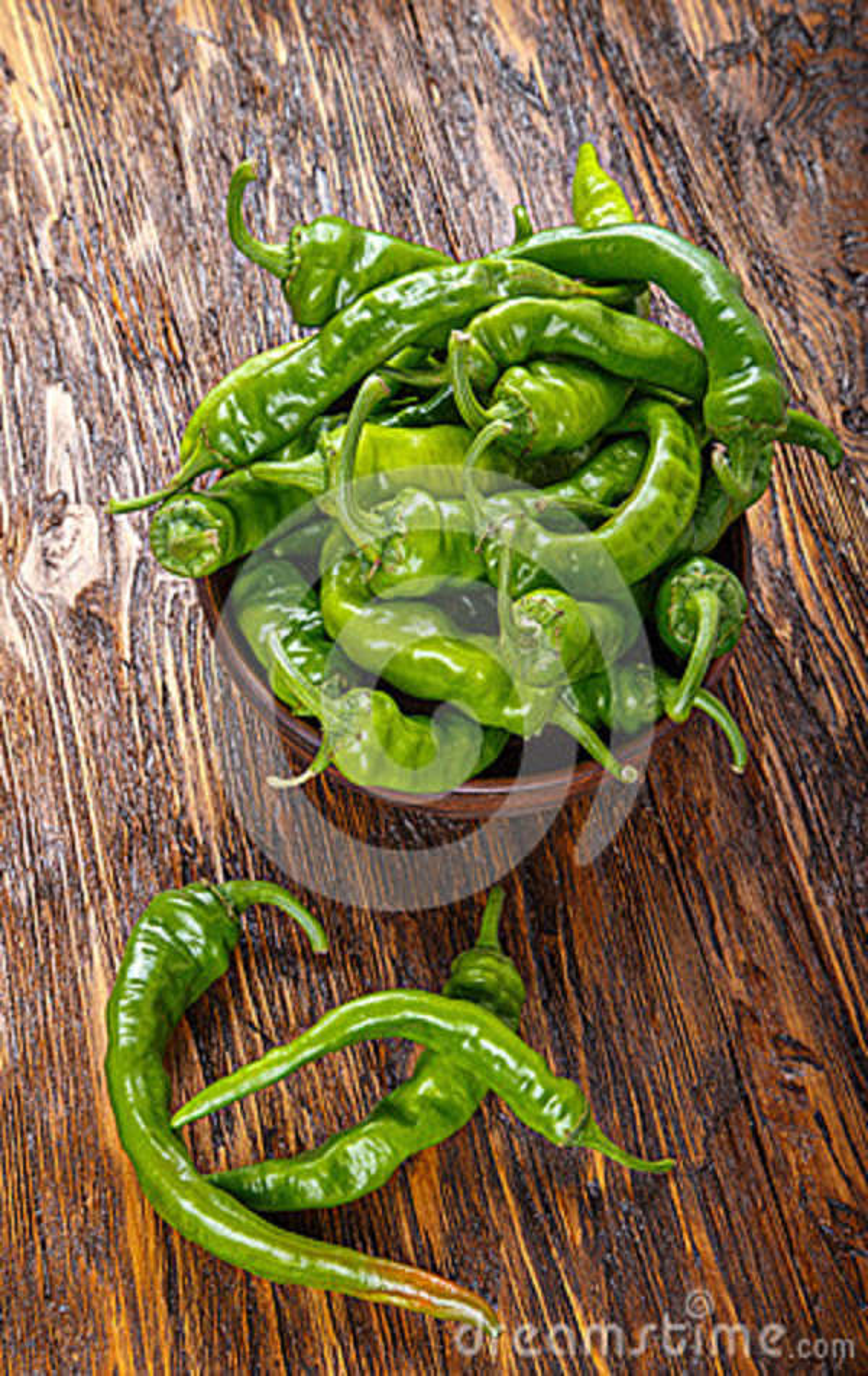 Pimentas verdes quentes