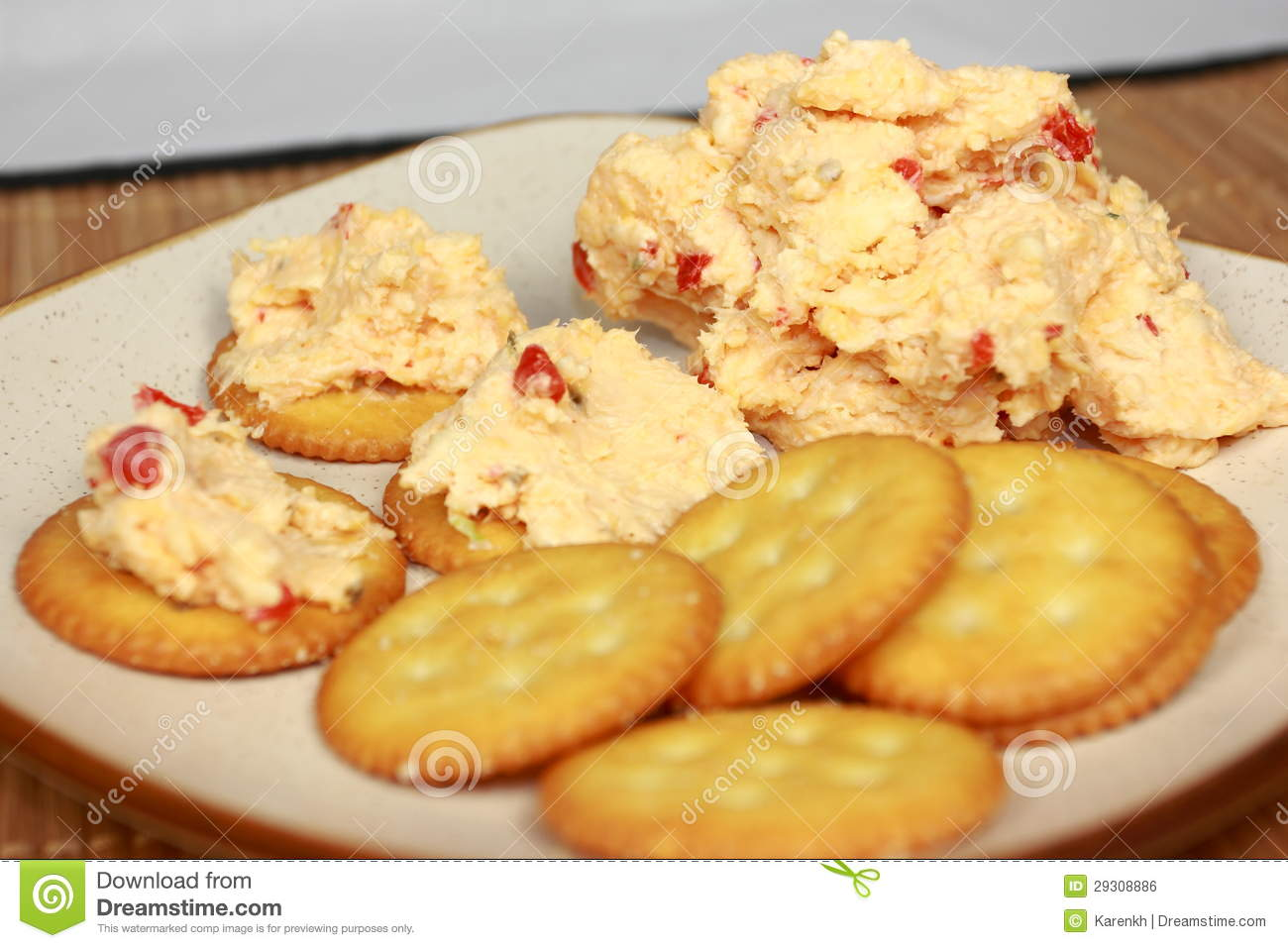 ... tasty homemade pimento cheese spread served on crisp round crackers