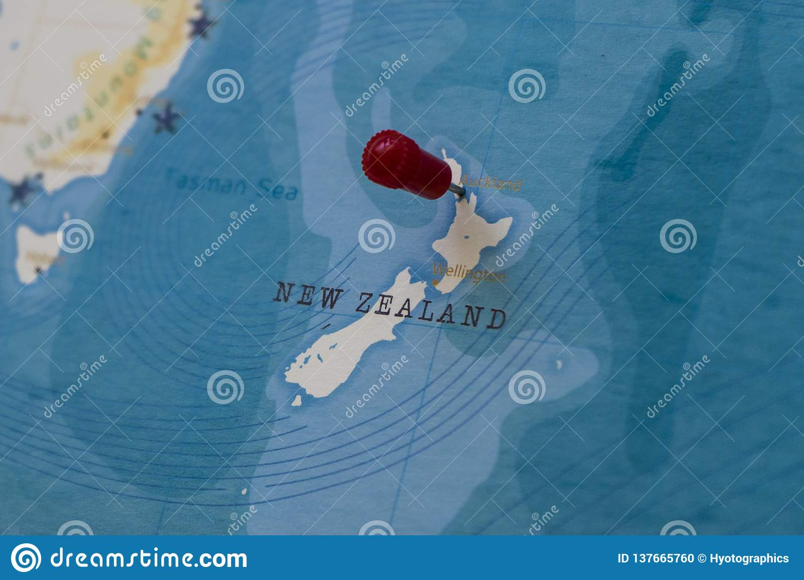 A Pin On Auckland, New Zealand In The World Map Stock Photo ...