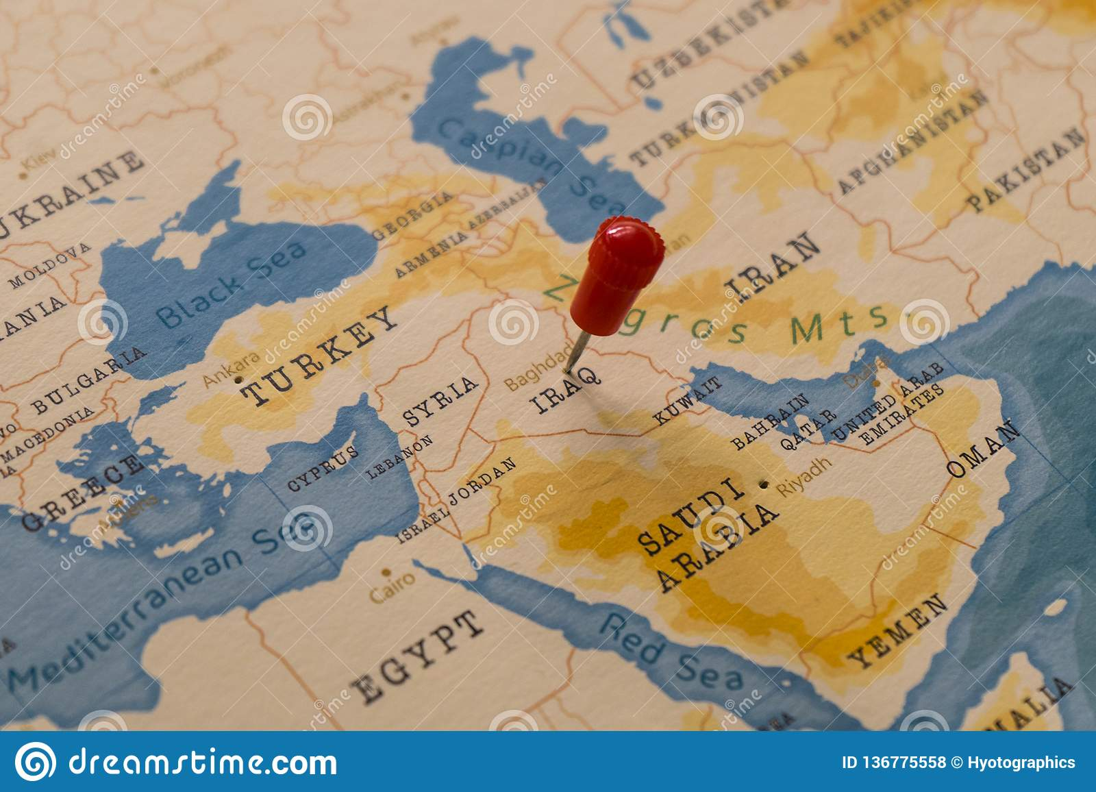 A Pin On Baghdad, Iraq In The World Map Stock Photo - Image ...