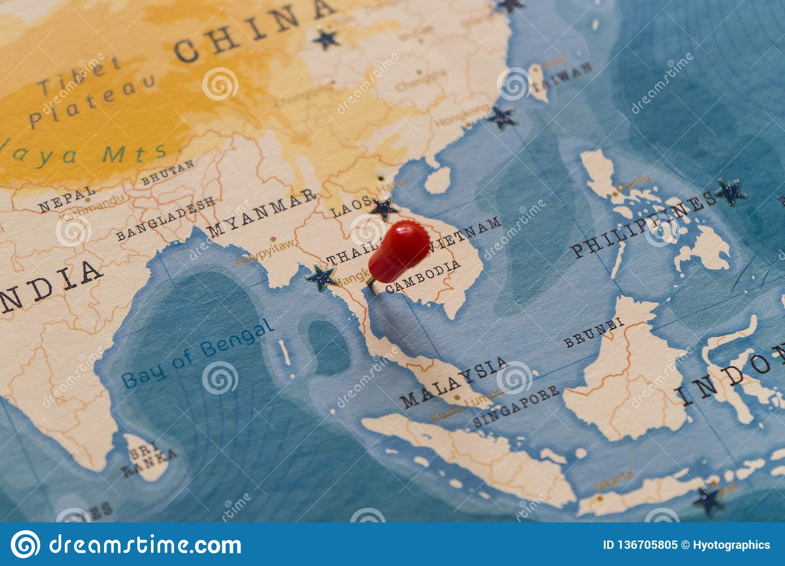 A pin on Bangkok, Thailand in the world map