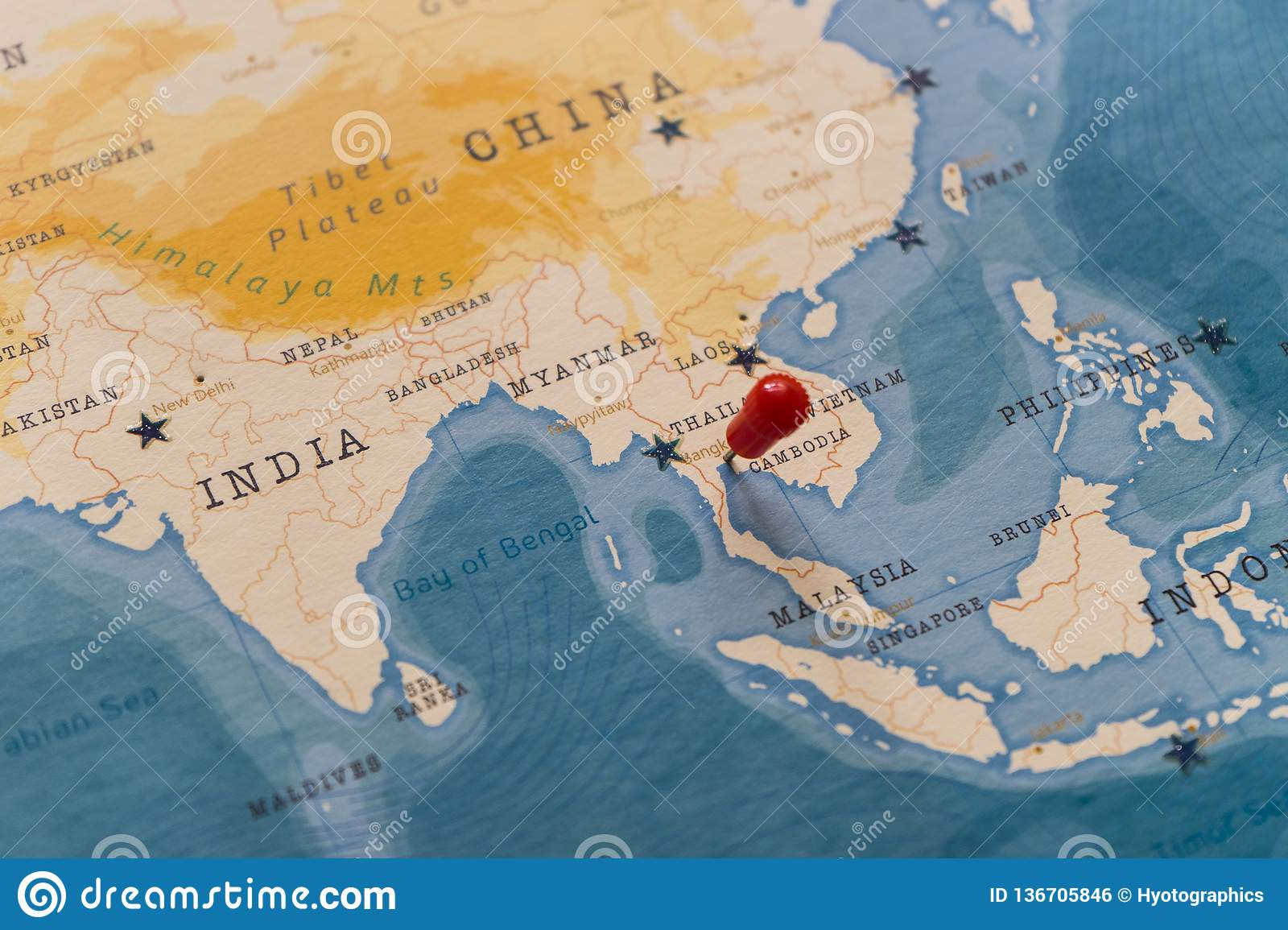 A Pin On Bangkok, Thailand In The World Map Stock Photo ...
