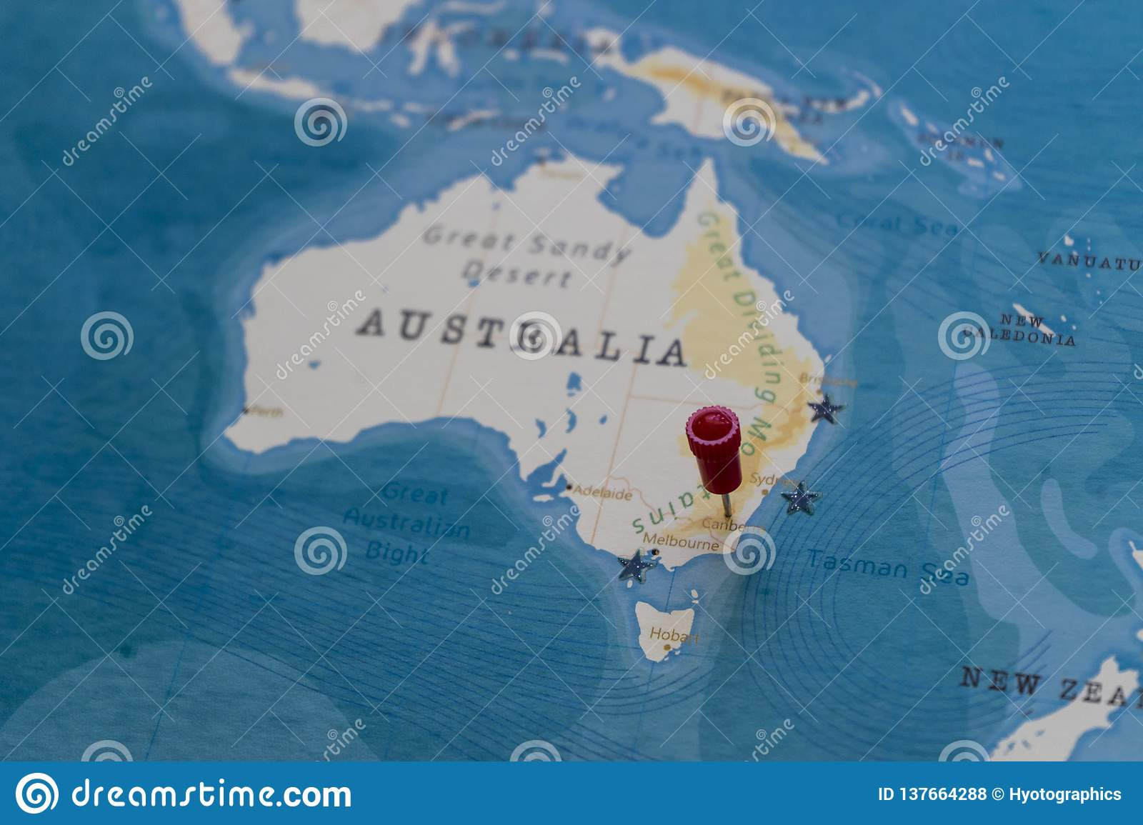 A Pin On Canberra Australia In The World Map Stock Photo Image Of