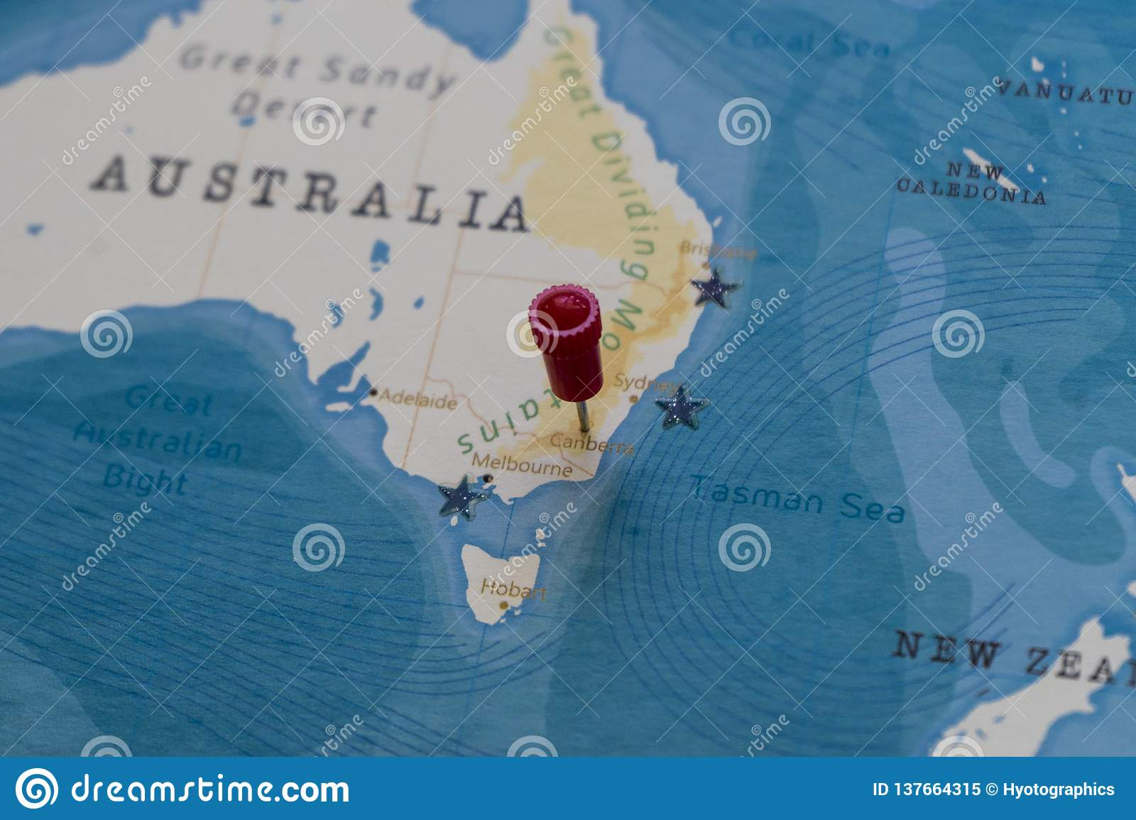 A Pin On Canberra Australia In The World Map Stock Image Image Of