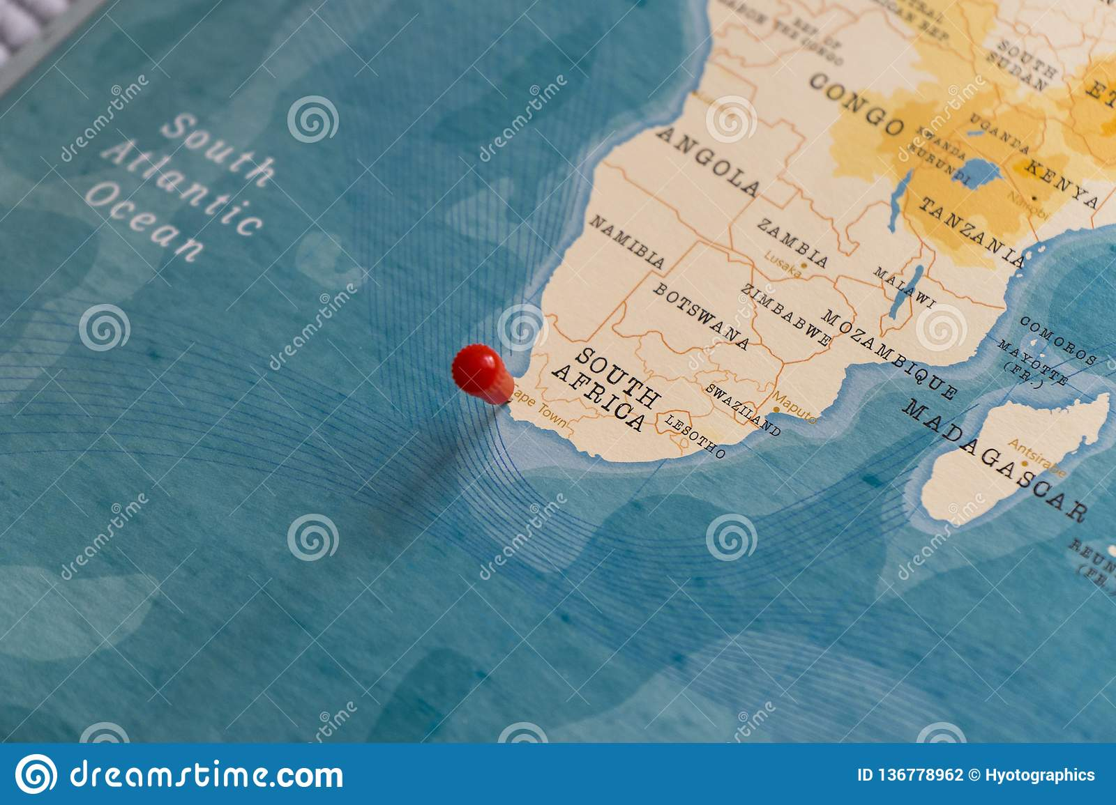 A Pin On Cape Town South Africa In The World Map Stock Photo