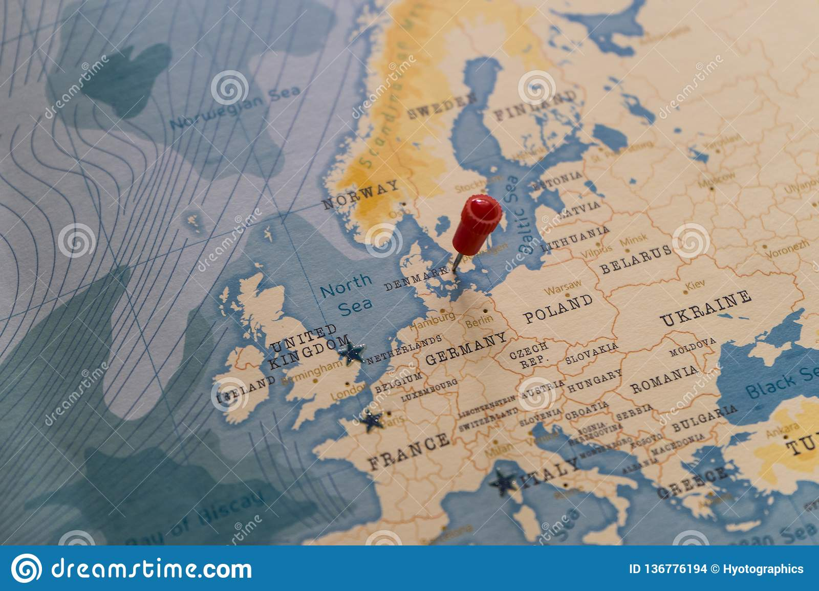 A Pin On Copenhagen, Denmark In The World Map Stock Photo - Image of ...
