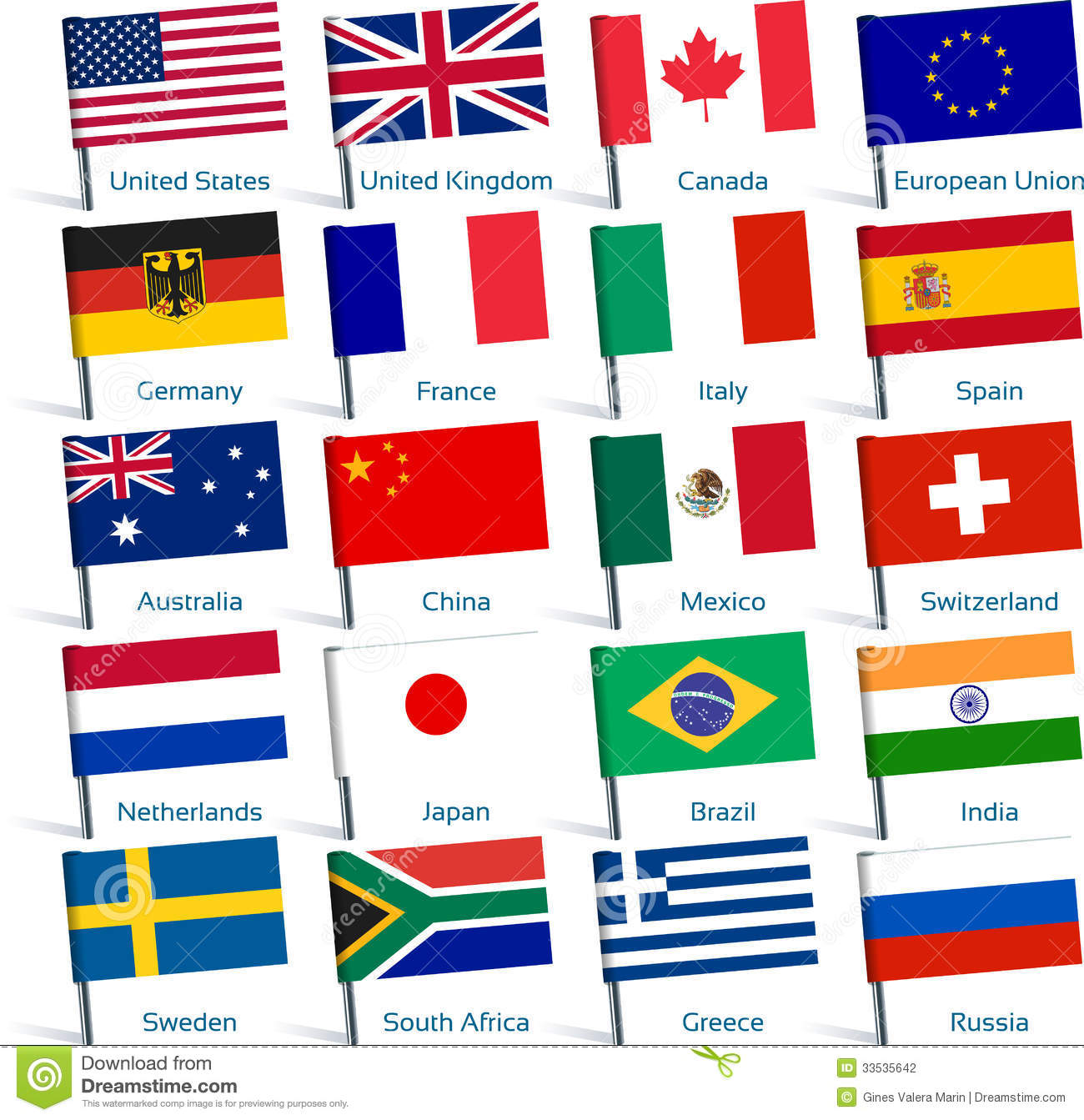 pin flags popular stock photography image 33535642