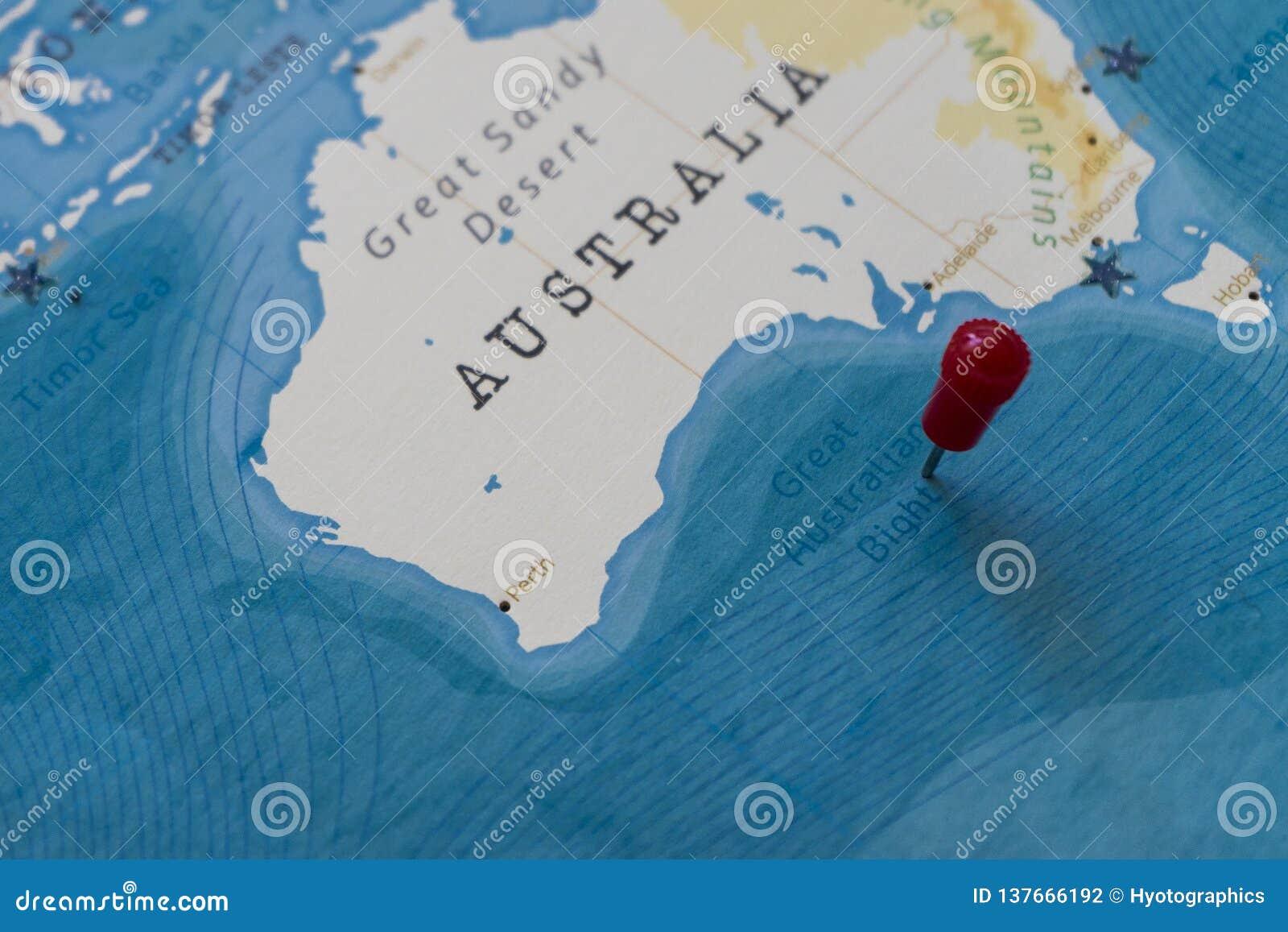 Australia Map Great Australian Bight.A Pin On Great Australian Bight In The World Map Stock Photo