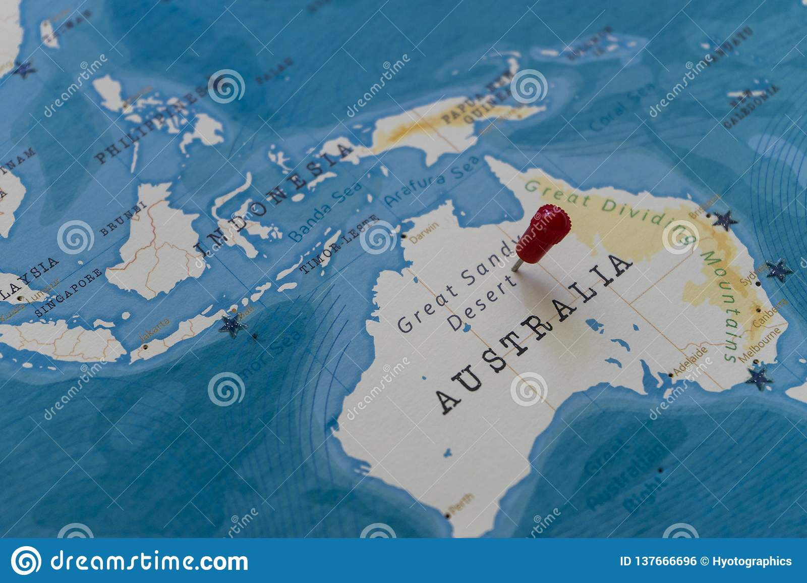 Map Of Australia Desert.A Pin On Great Sandy Desert Australia In The World Map Stock Photo
