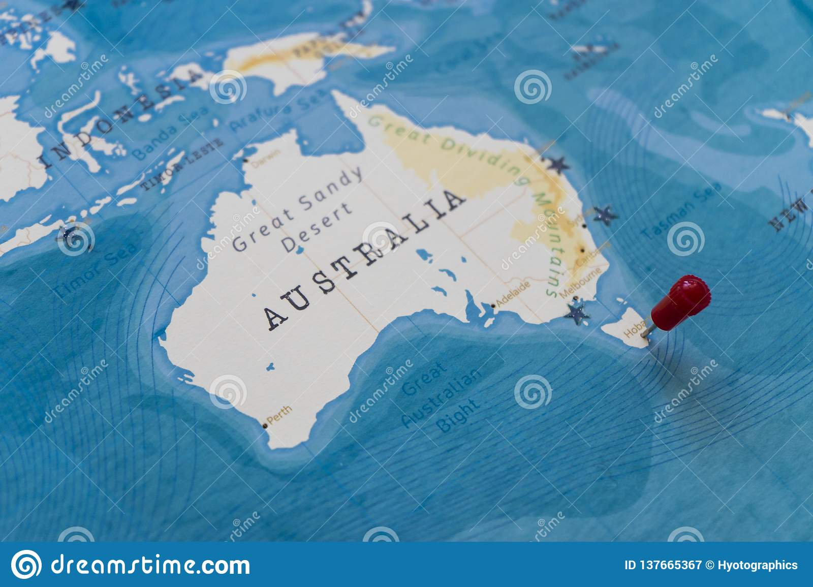 A pin on hobart, australia in the world map