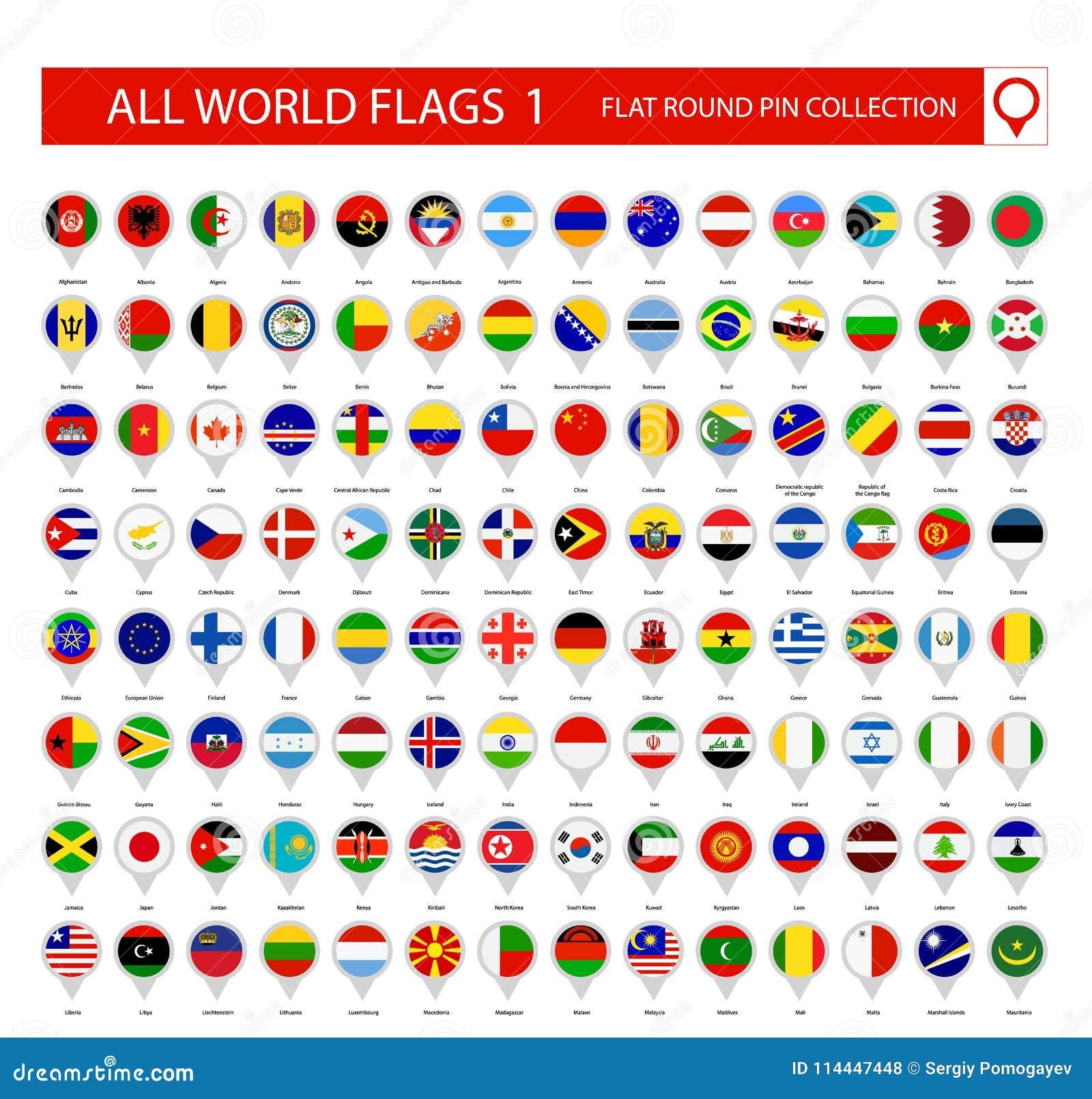 Pin Icons redondo plano de todas las banderas del mundo Parte 1