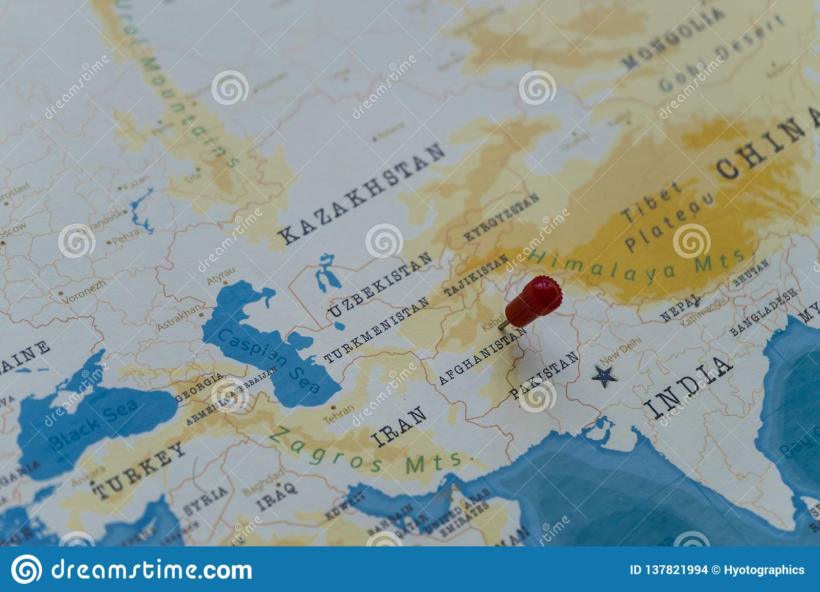 A Pin On Kabul, Afghanistan In The World Map Stock Photo - Image of ...