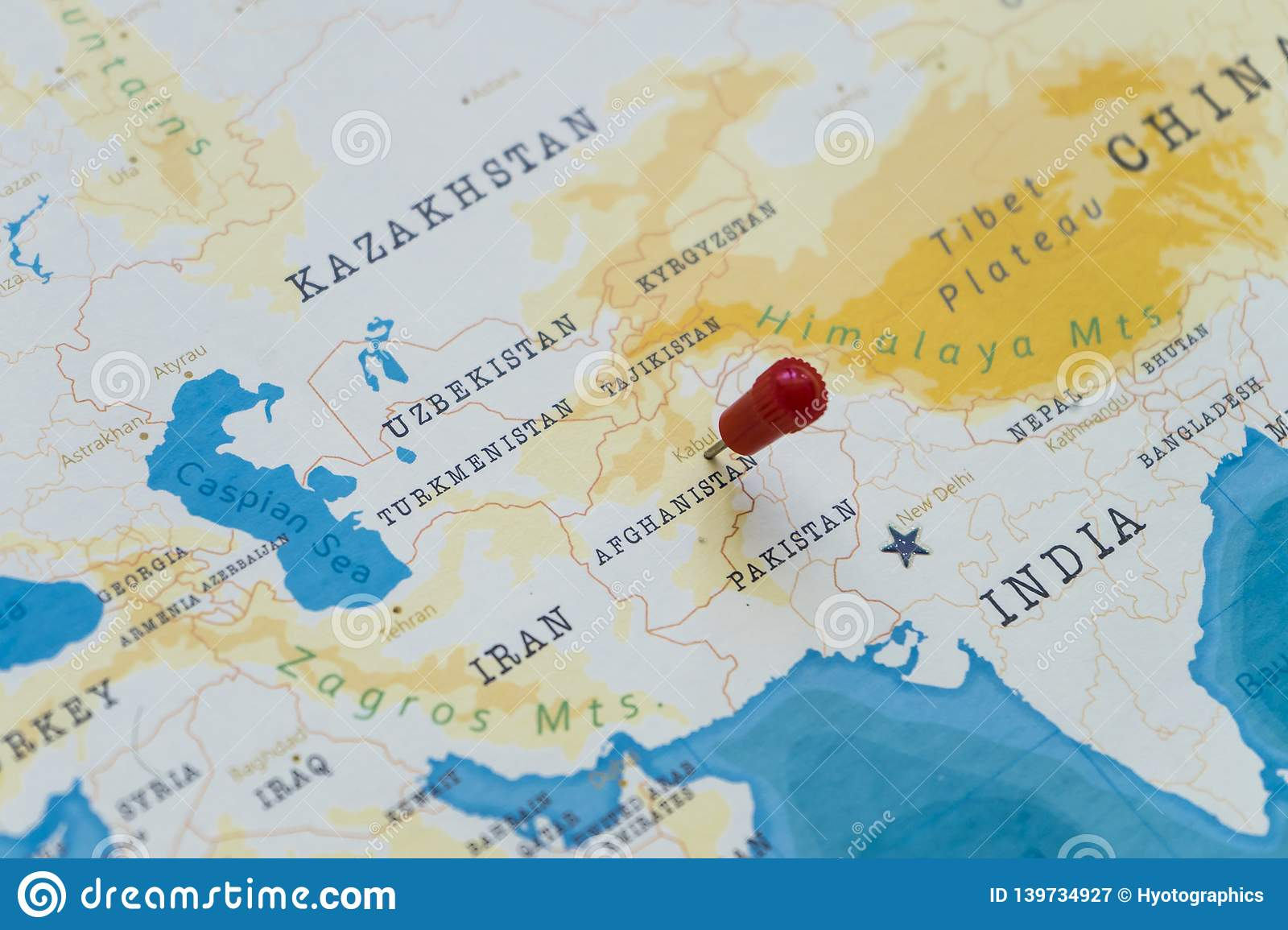 A Pin On Kabul, Afghanistan In The World Map Stock Image ...