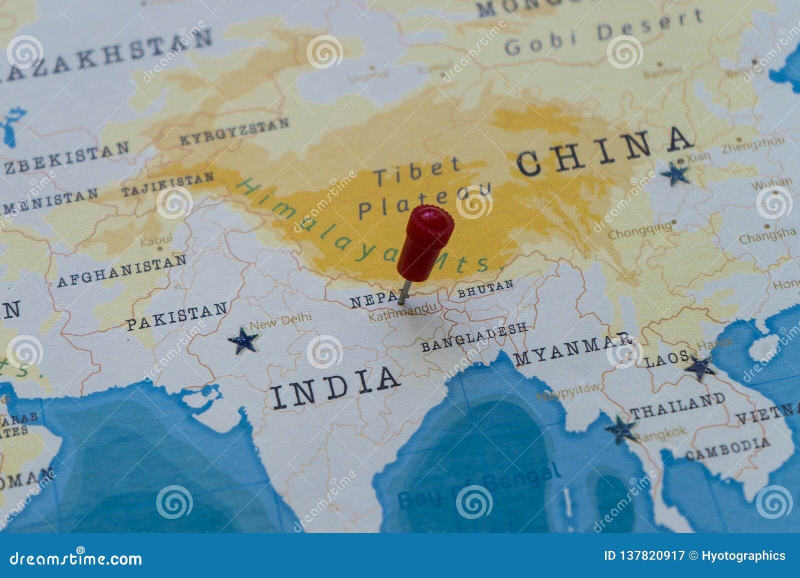A Pin On Kathmandu, Nepal In The World Map Stock Image ...