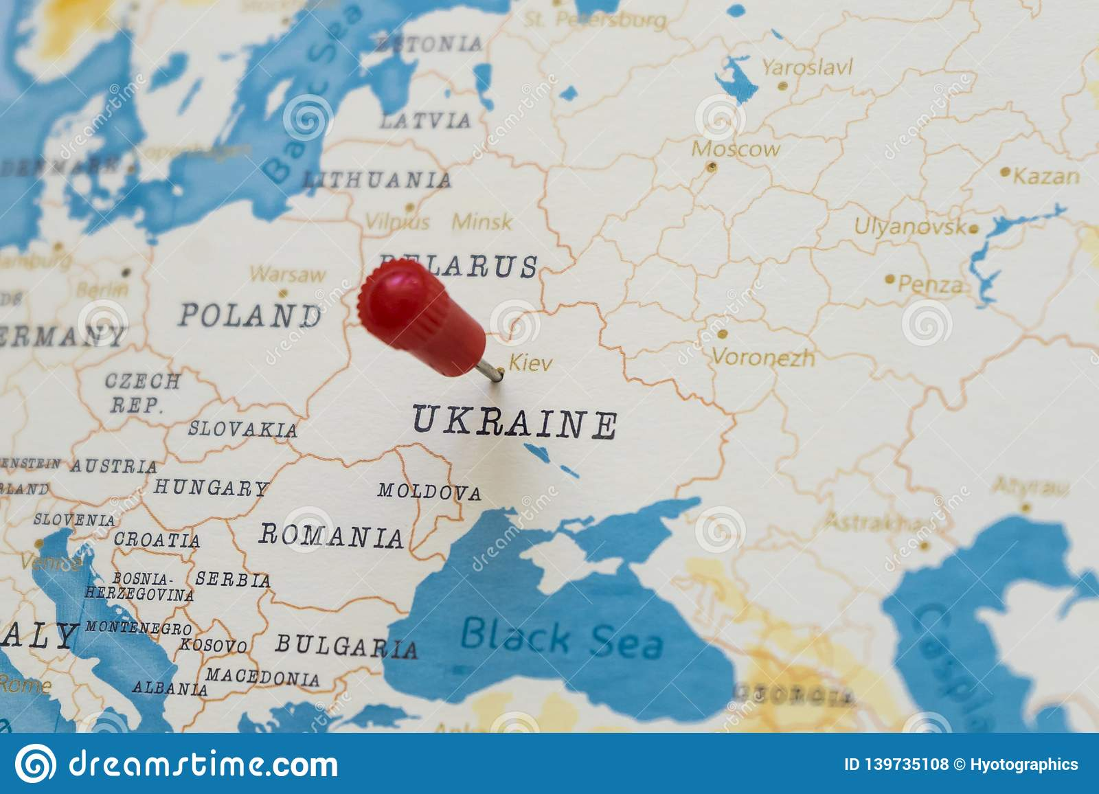 Picture of: A Pin On Kiev Ukraine In The World Map Stock Photo Image Of Holiday Journey 139735108