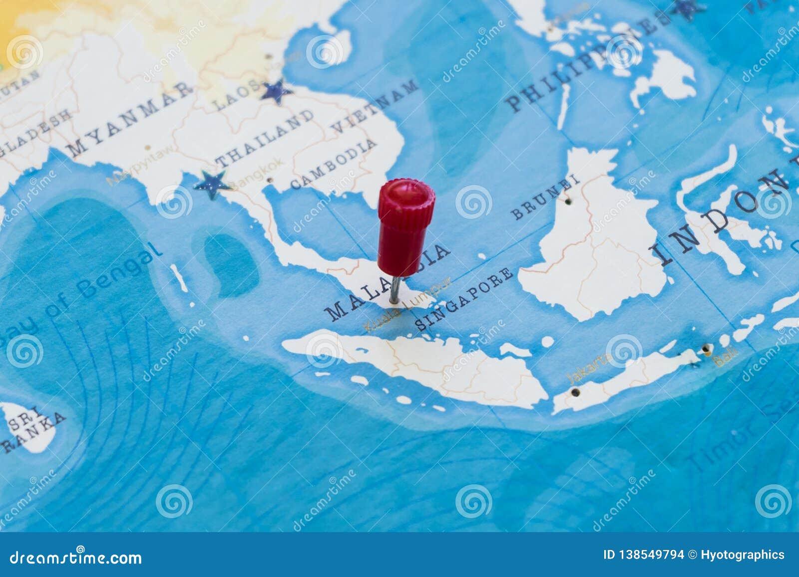 Malaysia On The World Map.A Pin On Kuala Lumpur Malaysia In The World Map Stock Photo Image