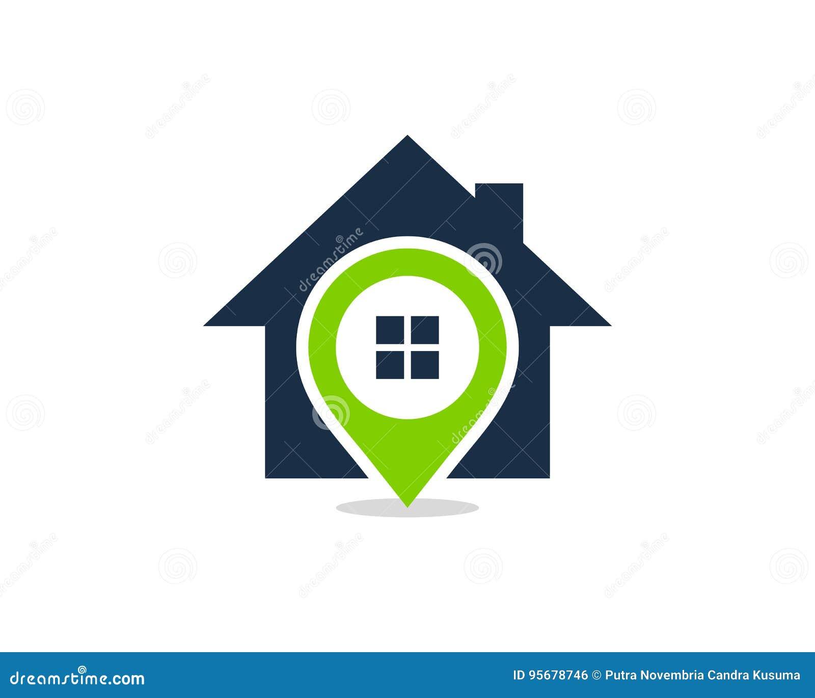Pin Location House Home Icon Logo Design Element Vektor Abbildung ...