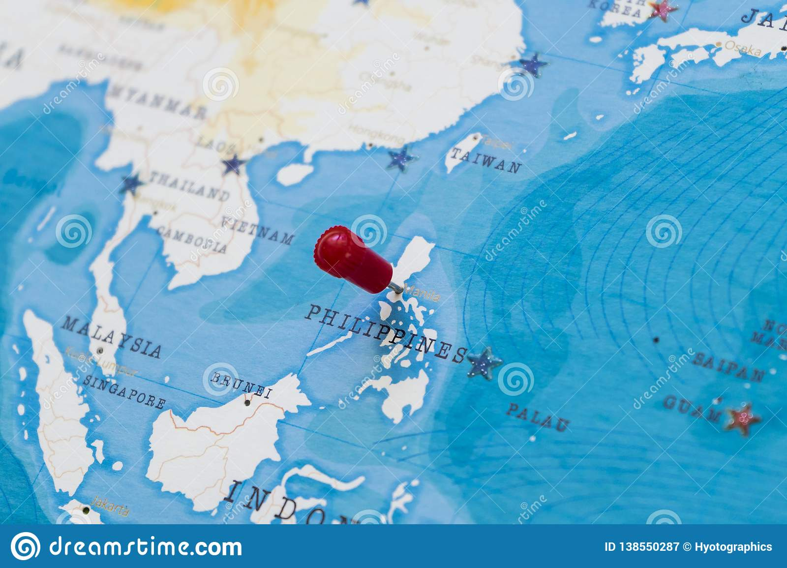 Picture of: A Pin On Manila Philippines In The World Map Stock Image Image Of Government Locations 138550287
