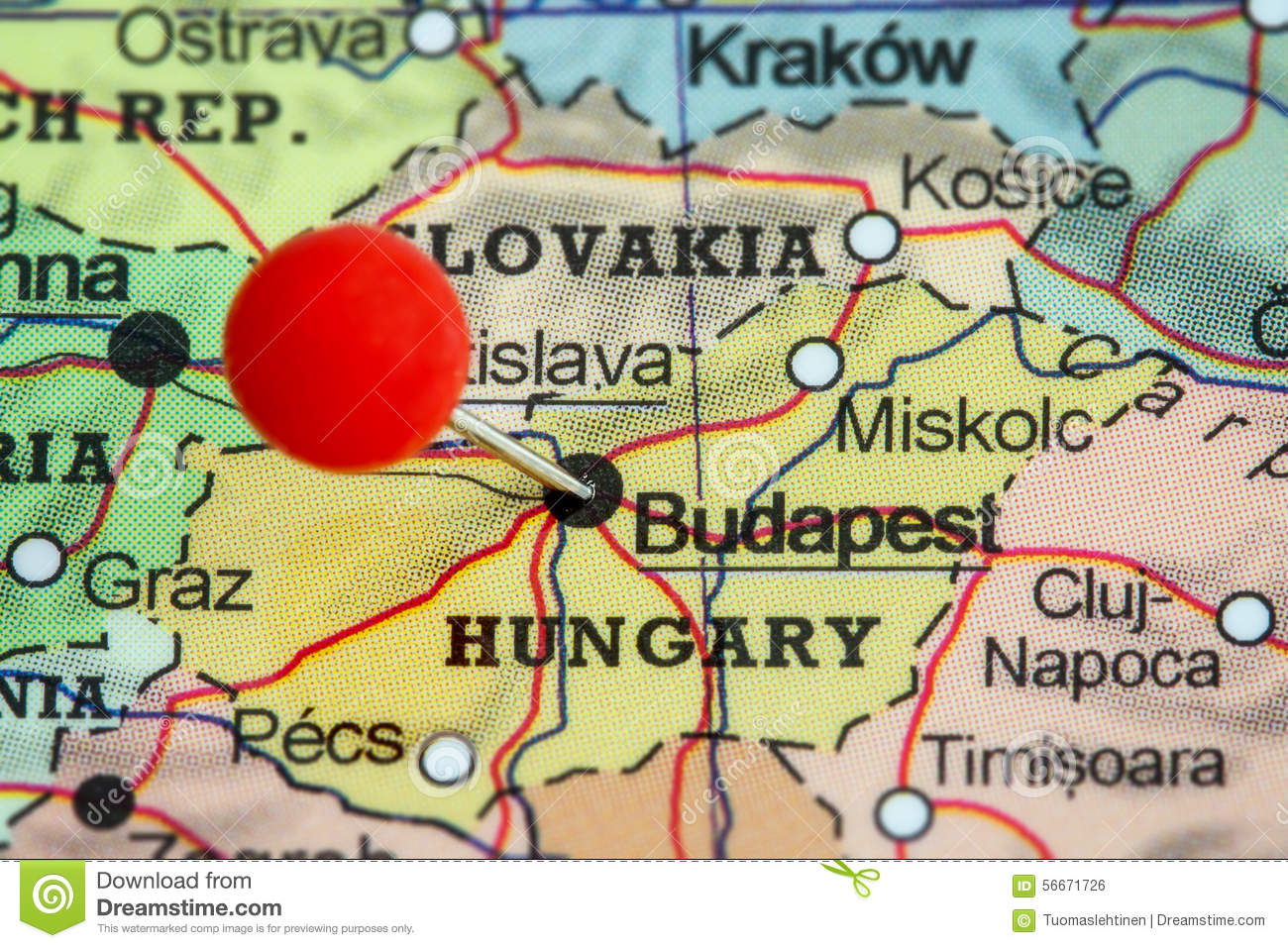Pin on a map of Budapest stock photo Image of tack paper 56671726