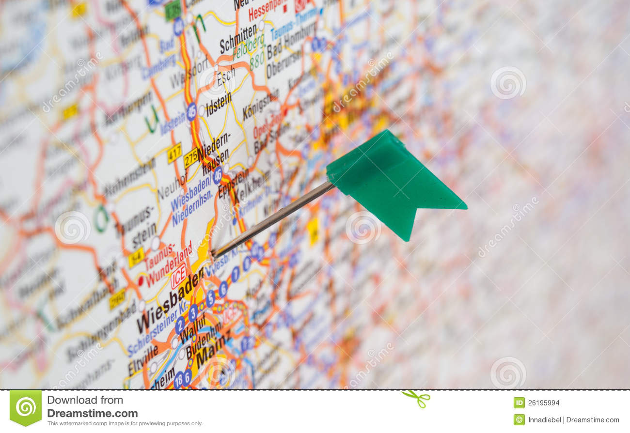 Show Map Of Germany.Pin On The Map Of Germany Shows At Wiesbaden Stock Photo Image Of