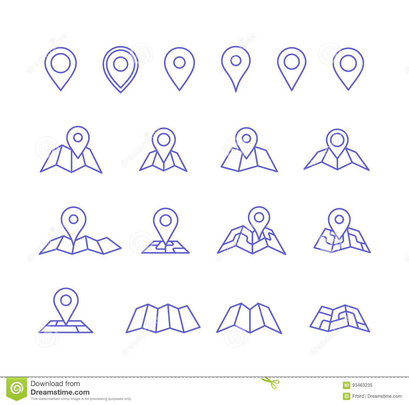 pin and map icons stock vector illustration of road 93463235