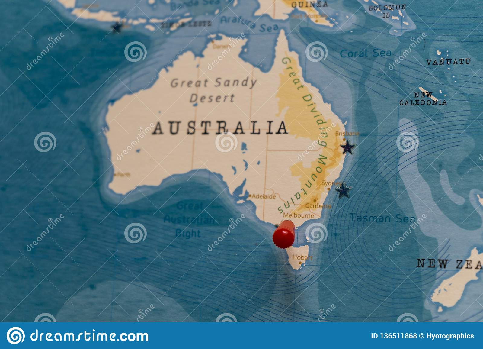 A Pin On Melbourne Australia In The World Map Stock Photo Image