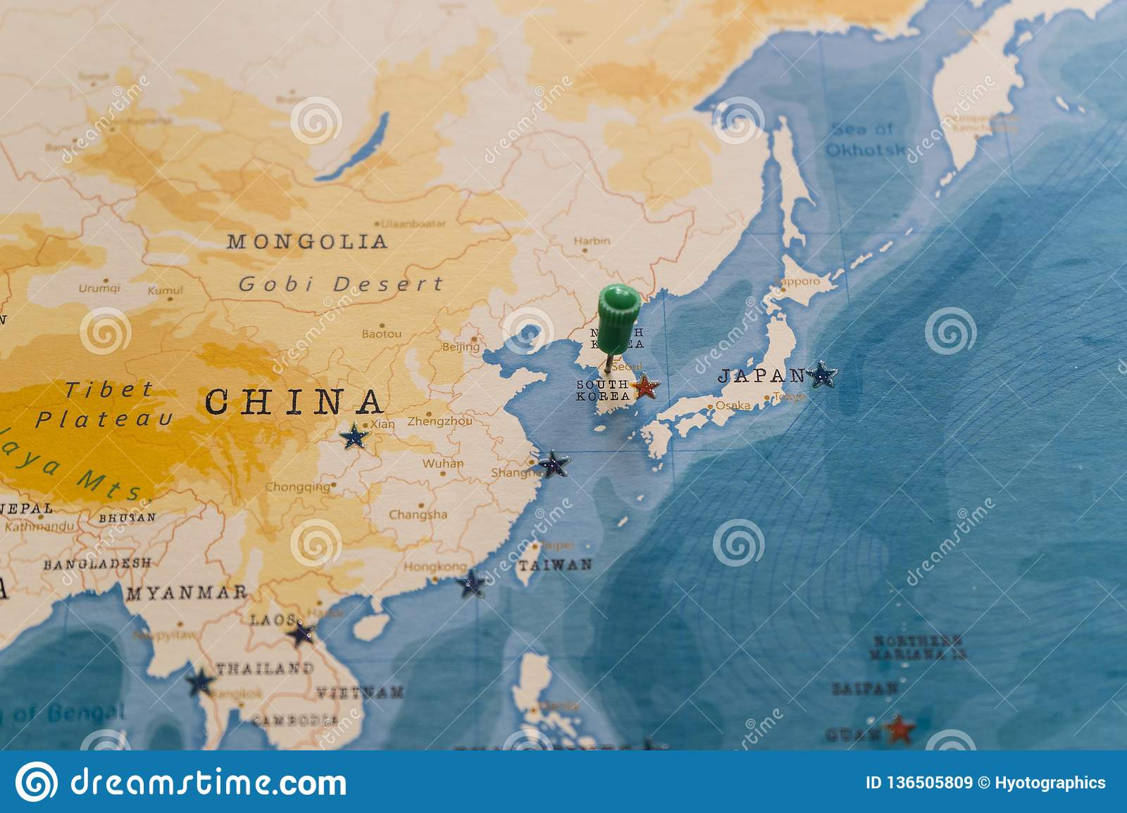 A Pin On Seoul, South Korea In The World Map Stock Image ...
