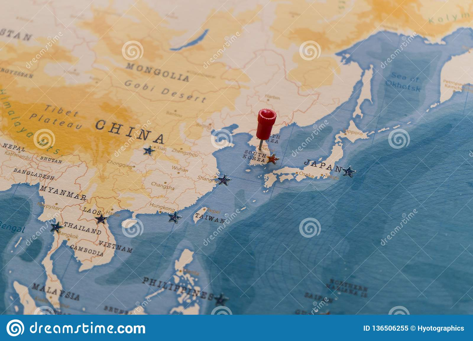 Image of: A Pin On Seoul South Korea In The World Map Stock Image Image Of Earth Paper 136506255