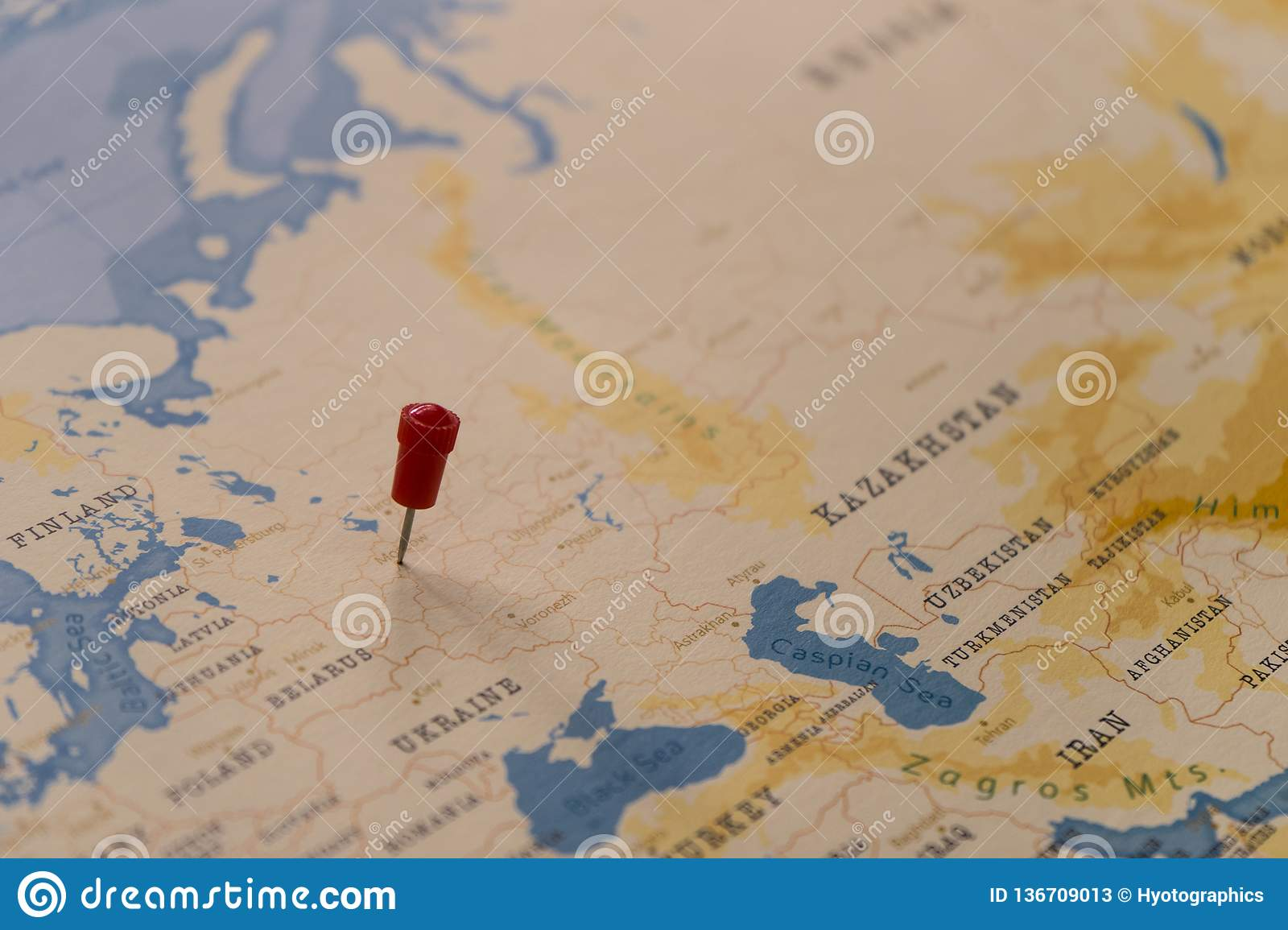 A Pin On Moscow, Russia In The World Map Stock Image - Image of ...