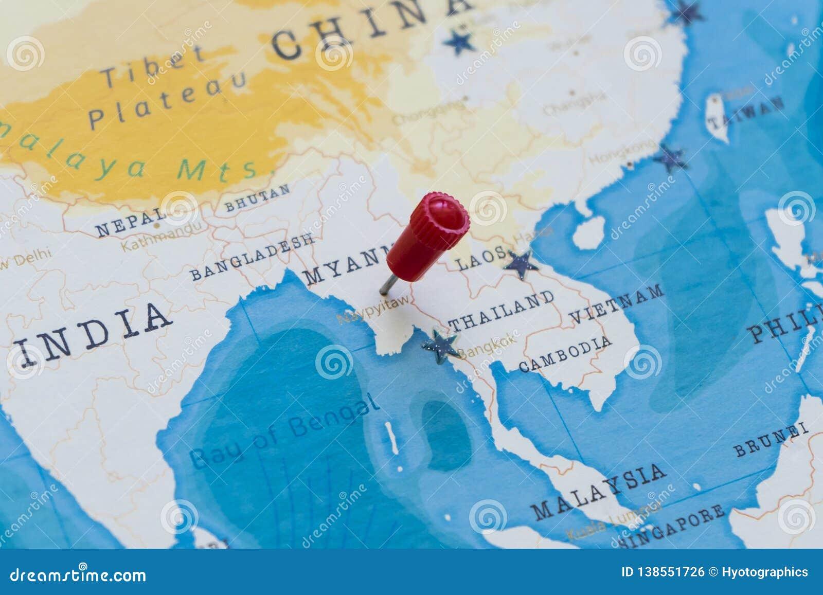 A Pin On Naypyitaw Myanmar Burma In The World Map Stock Photo