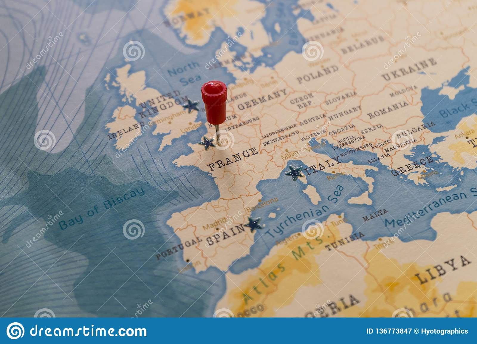 A Pin On Paris, France In The World Map Stock Image - Image of ...