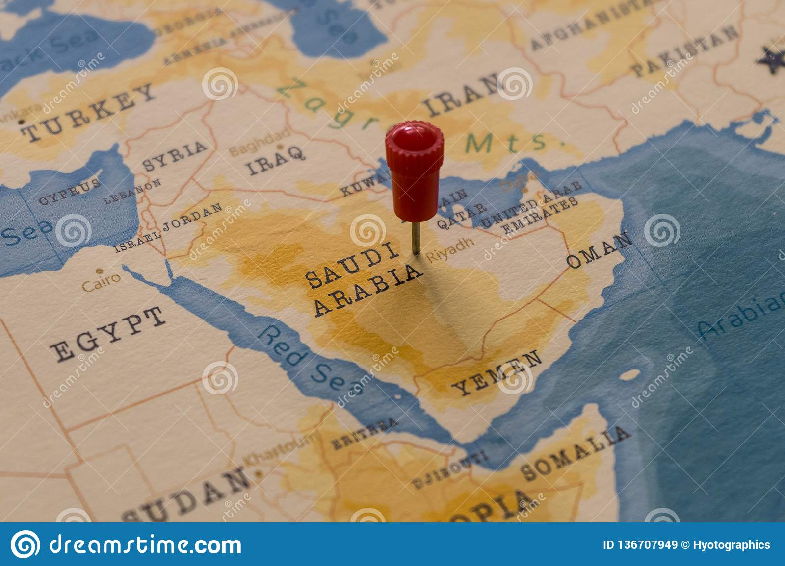 A Pin On Riyadh, Saudi Arabia In The World Map Stock Image ...