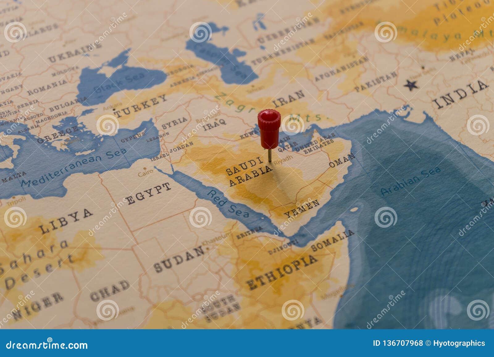 A Pin On Riyadh, Saudi Arabia In The World Map Stock Photo ...
