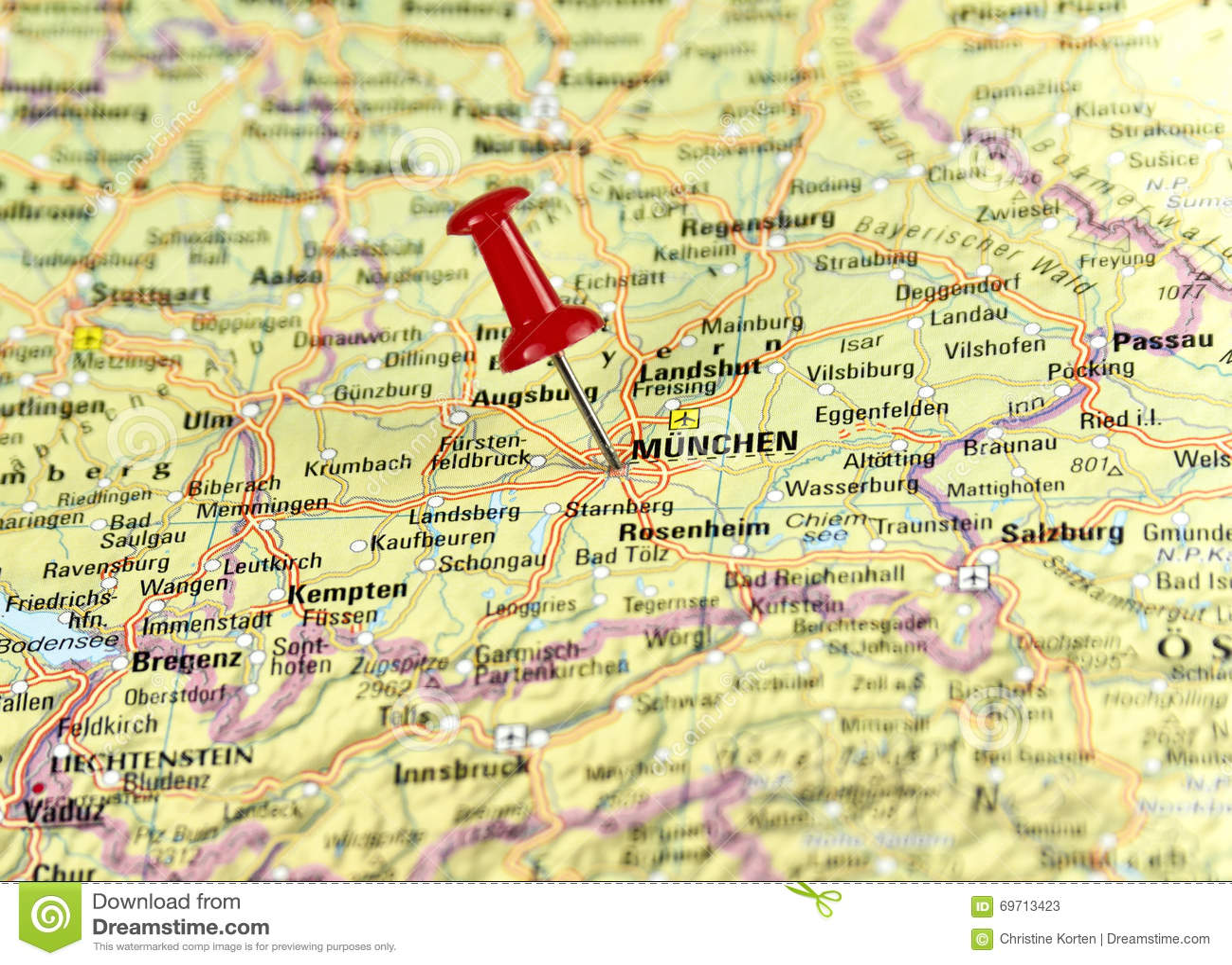 Map Of Germany Showing Munich.Pin Set On Munich Stock Image Image Of Close Extreme 69713423
