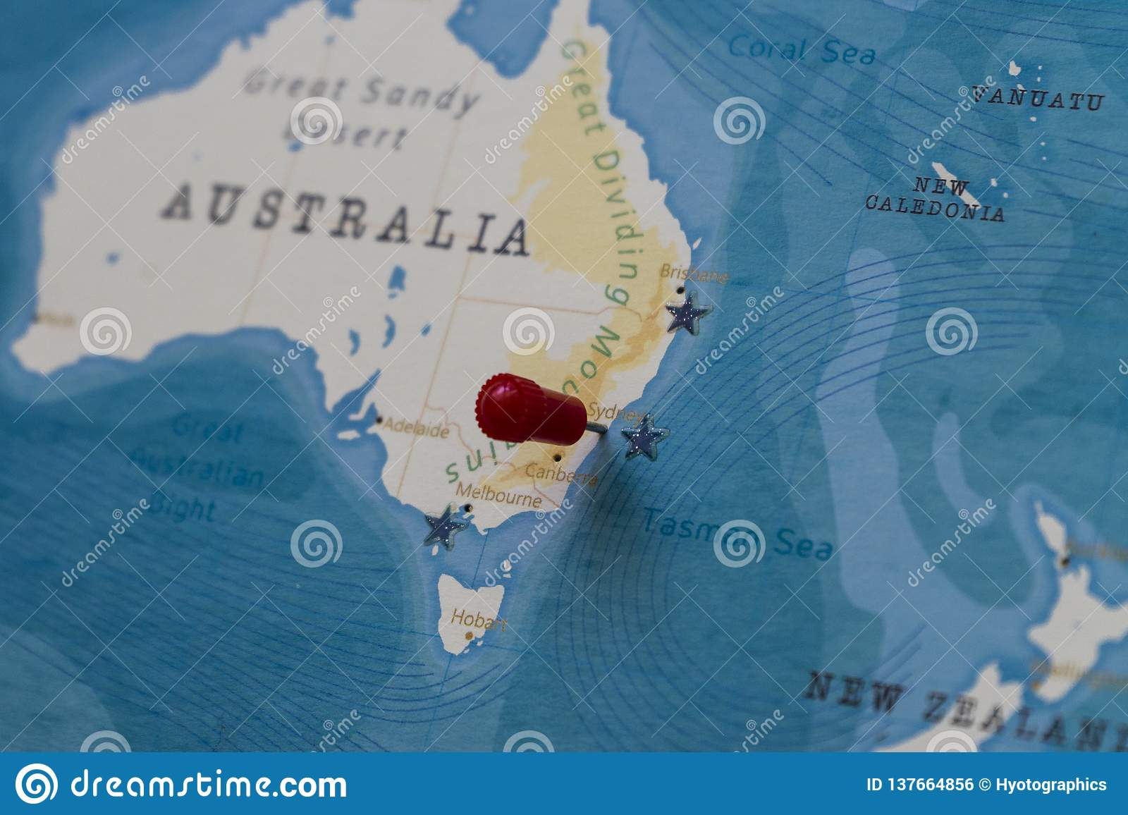 Sydney Australia World Map.A Pin On Sydney Australia In The World Map Stock Photo Image Of