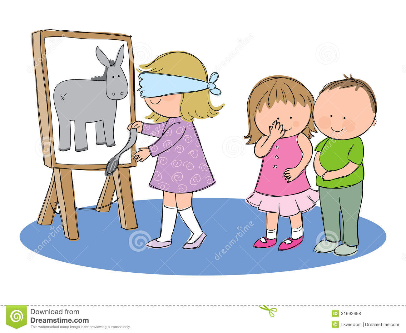 Tail stock illustrations 105332 tail stock illustrations vectors pin the tail on the donkey hand drawn picture of children playing the party game maxwellsz