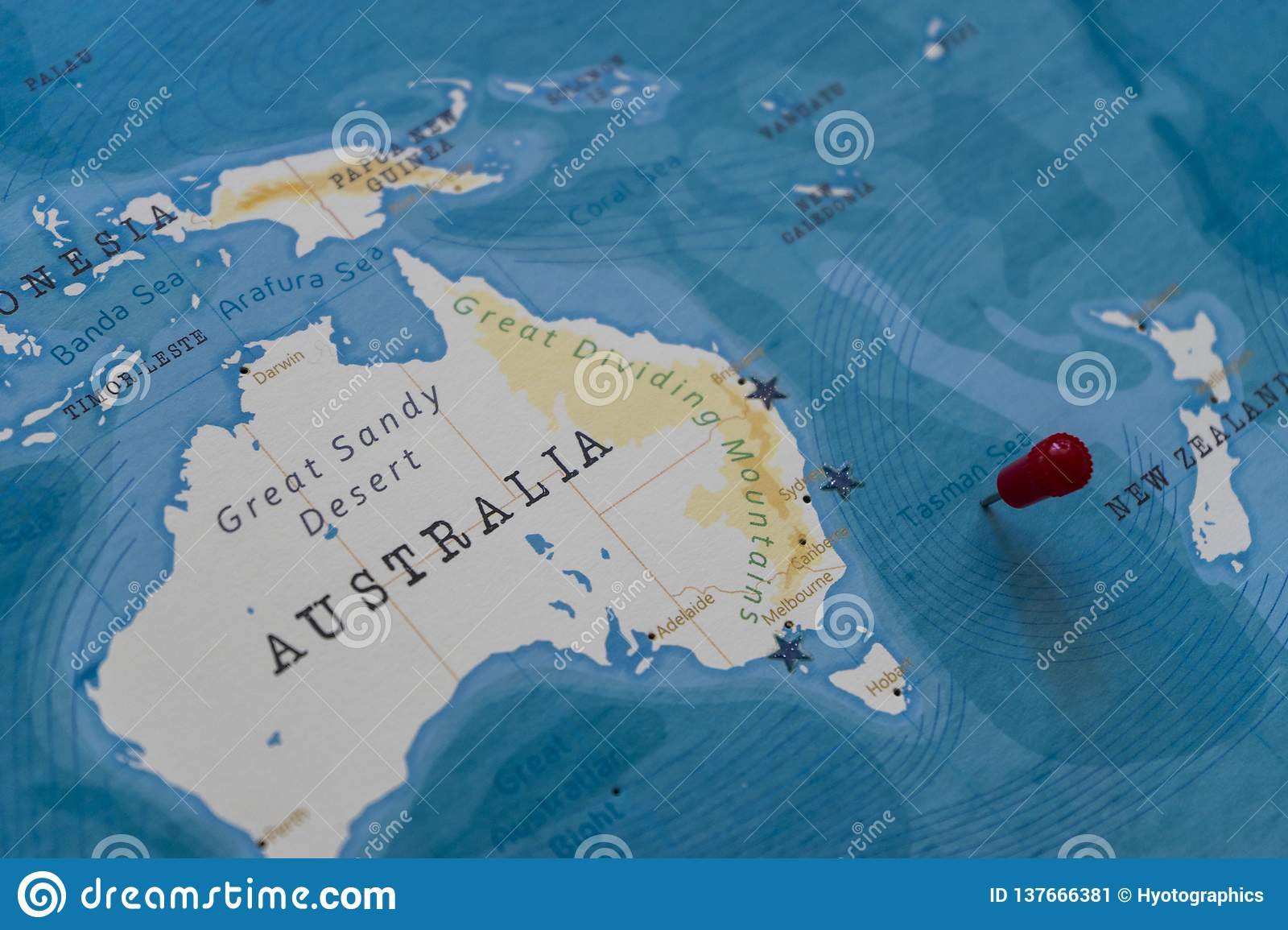 Image of: A Pin On Tasman Sea In The World Map Stock Image Image Of Geography World 137666381