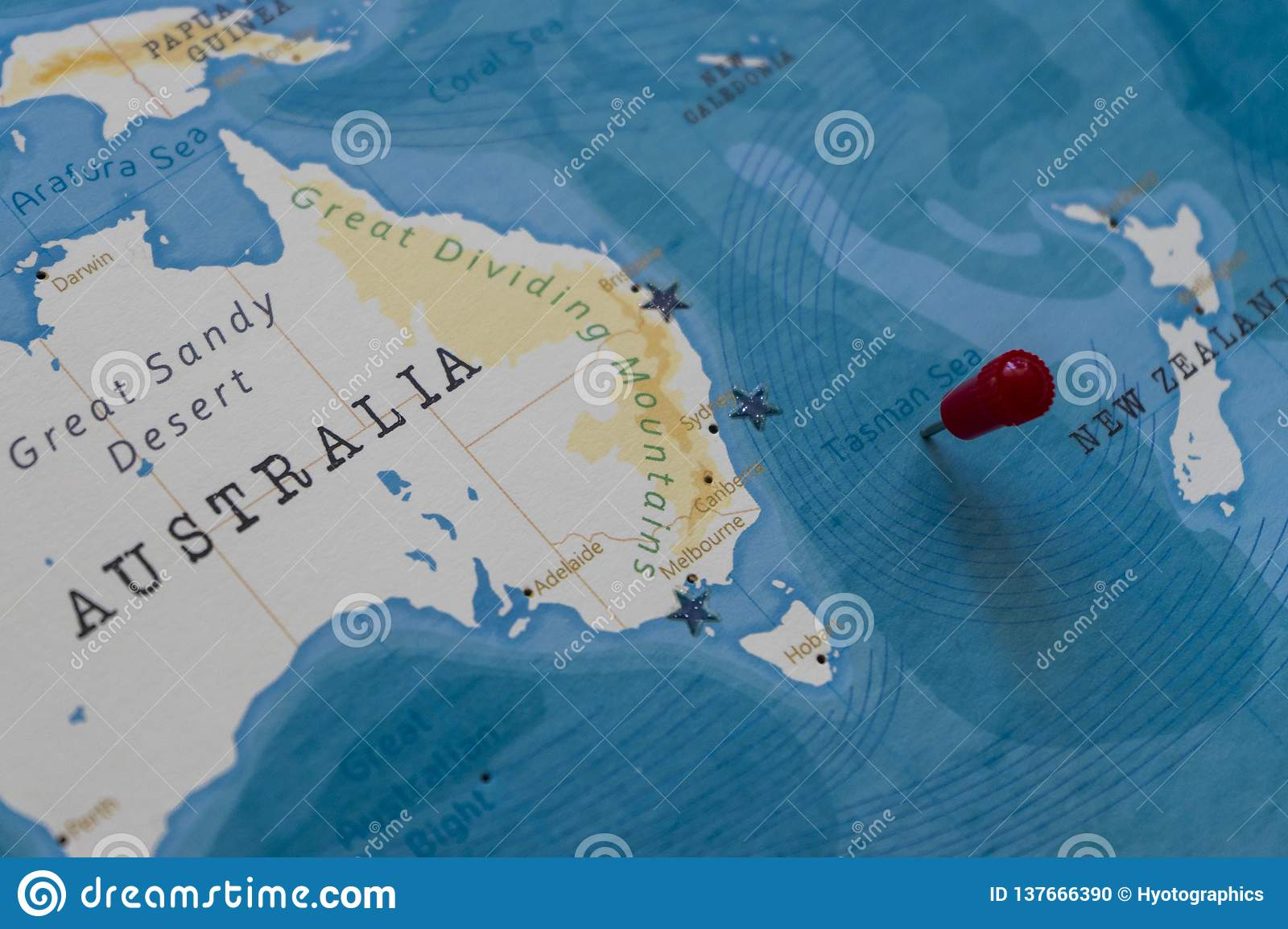 A Pin On Tasman Sea In The World Map Stock Photo - Image of ...