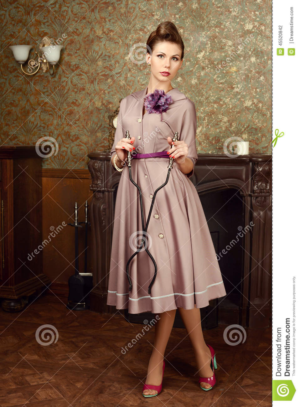 Pin Up Beautiful Young Woman In Vintage Interior Stock Photo Image 45520842