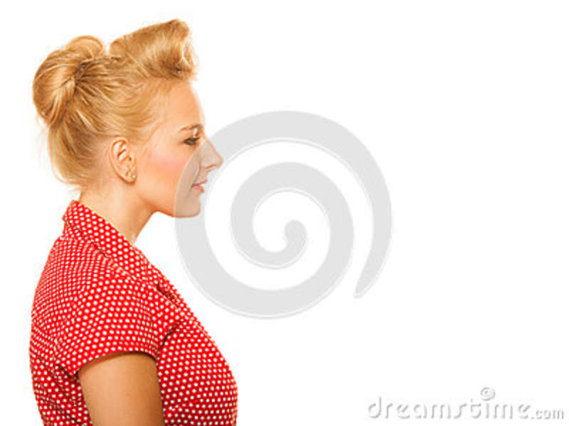 Pin Up Blond Girl With Retro Hair Bun Isolated Stock Image Image