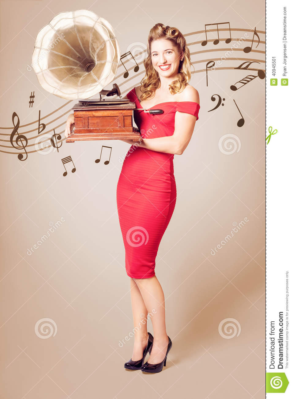 Pin Up At The Disco Vintage Woman With Gramophone Stock