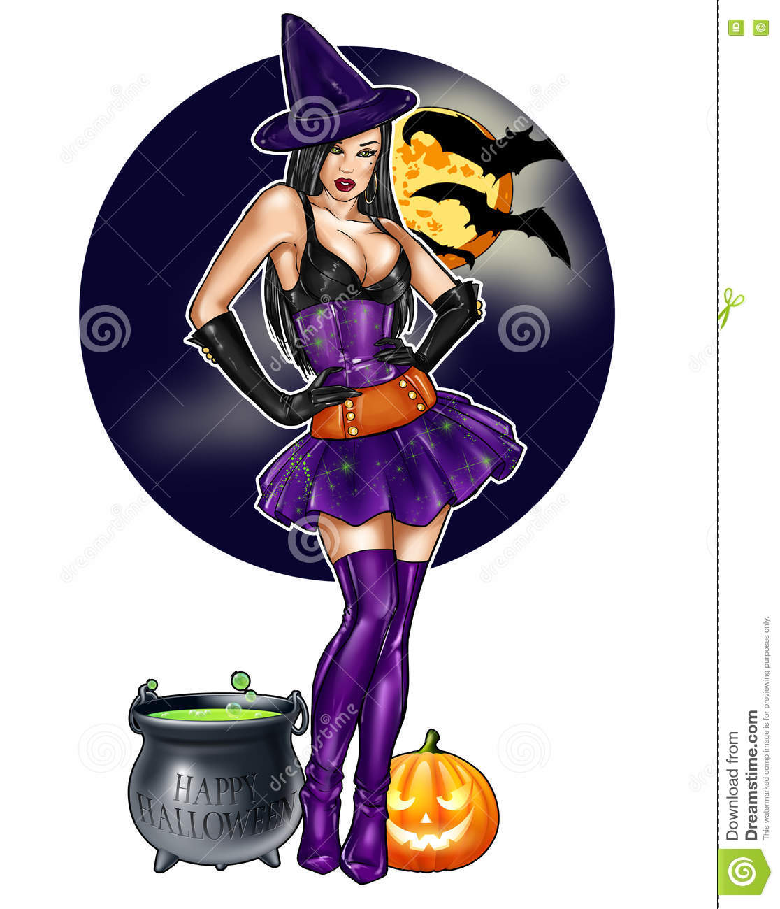 Pin Up Dressed Up As Halloween Witch On A Dark Sky