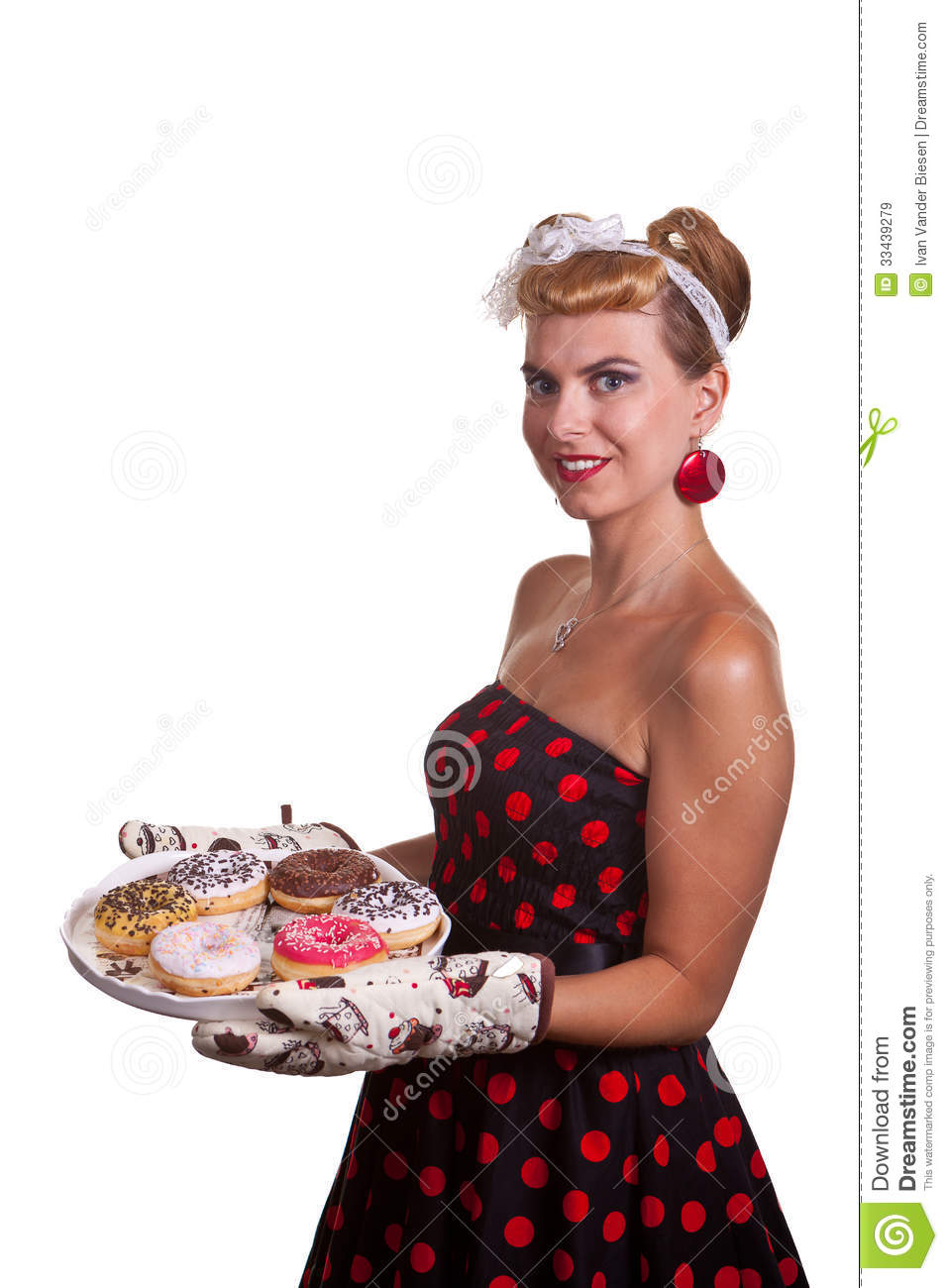 pin up girl with cakes stock image image of background 33439279. Black Bedroom Furniture Sets. Home Design Ideas