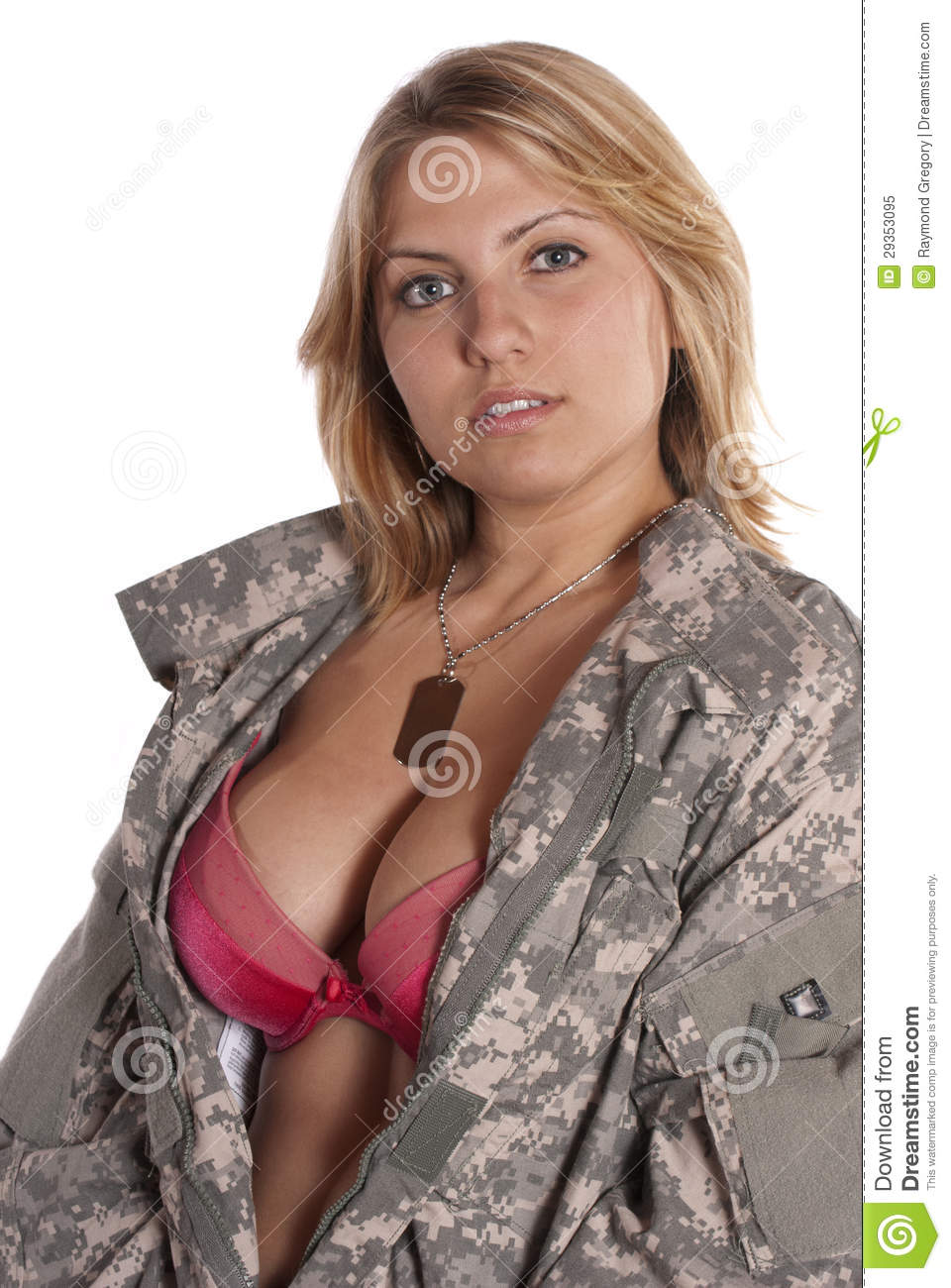 Pin Up Girl Implied Nude Military Uniform Stock Image ...